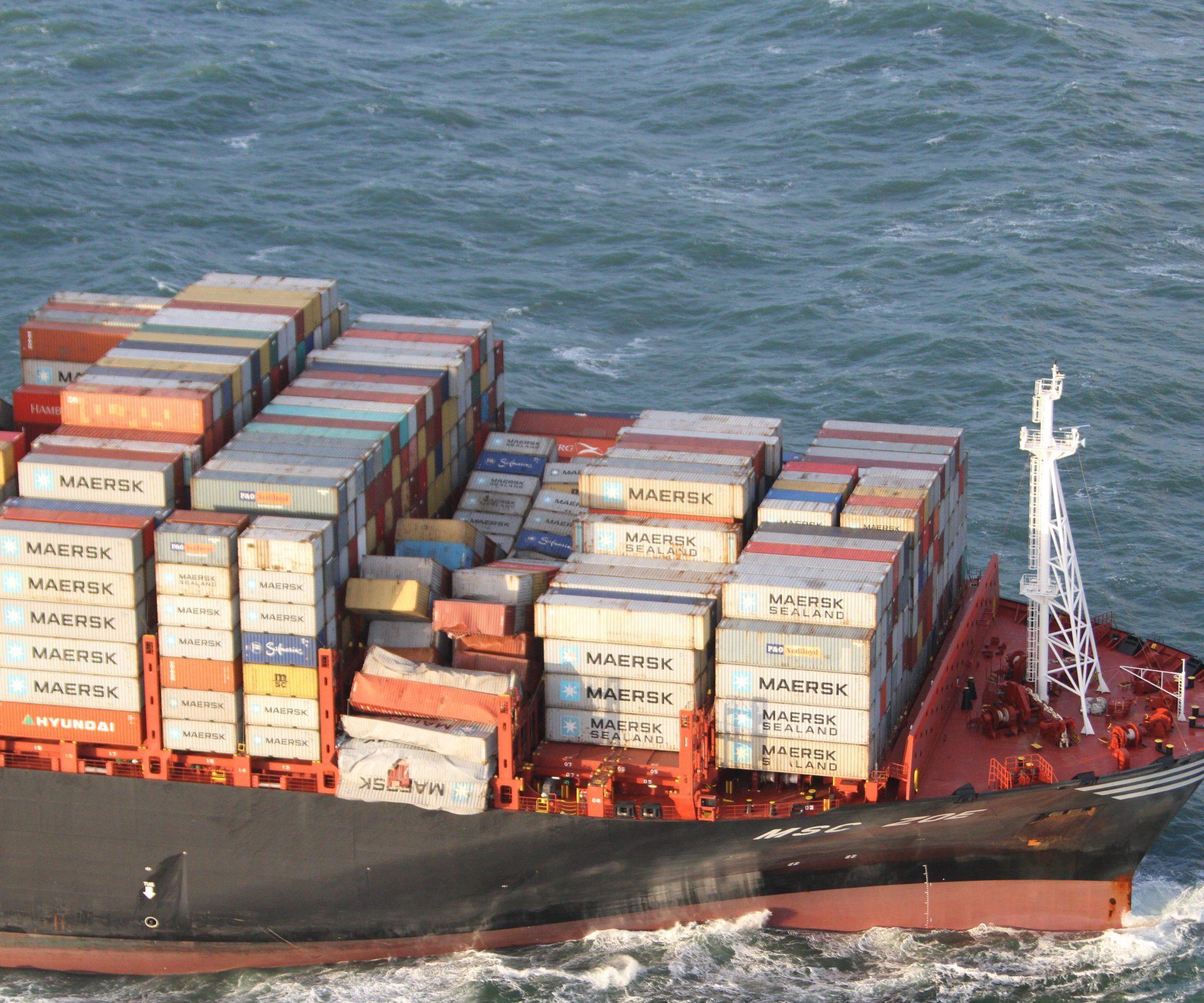 De kapitein van het containerschip MSC Zoe wordt niet vervolgd. (Foto EPA)
