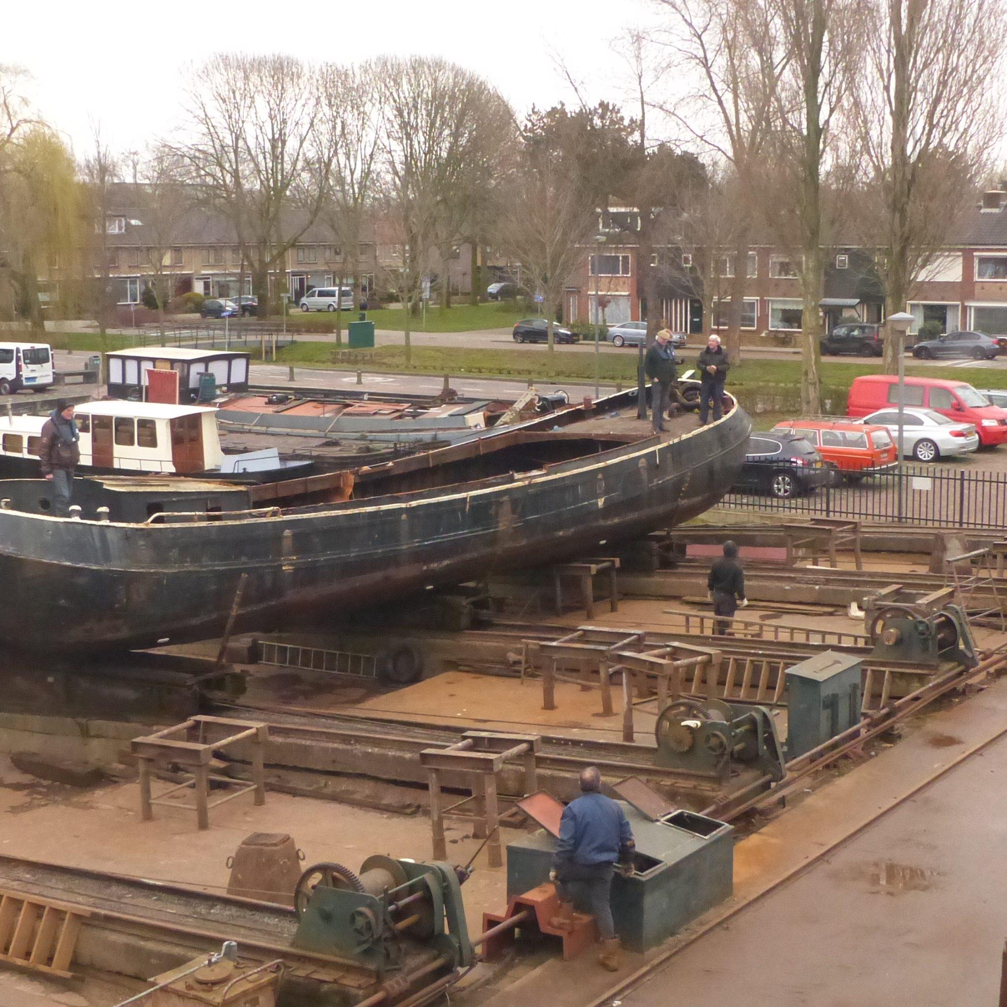 Televisiester Aeltje op de helling (Foto Museumwerf Vreeswijk)