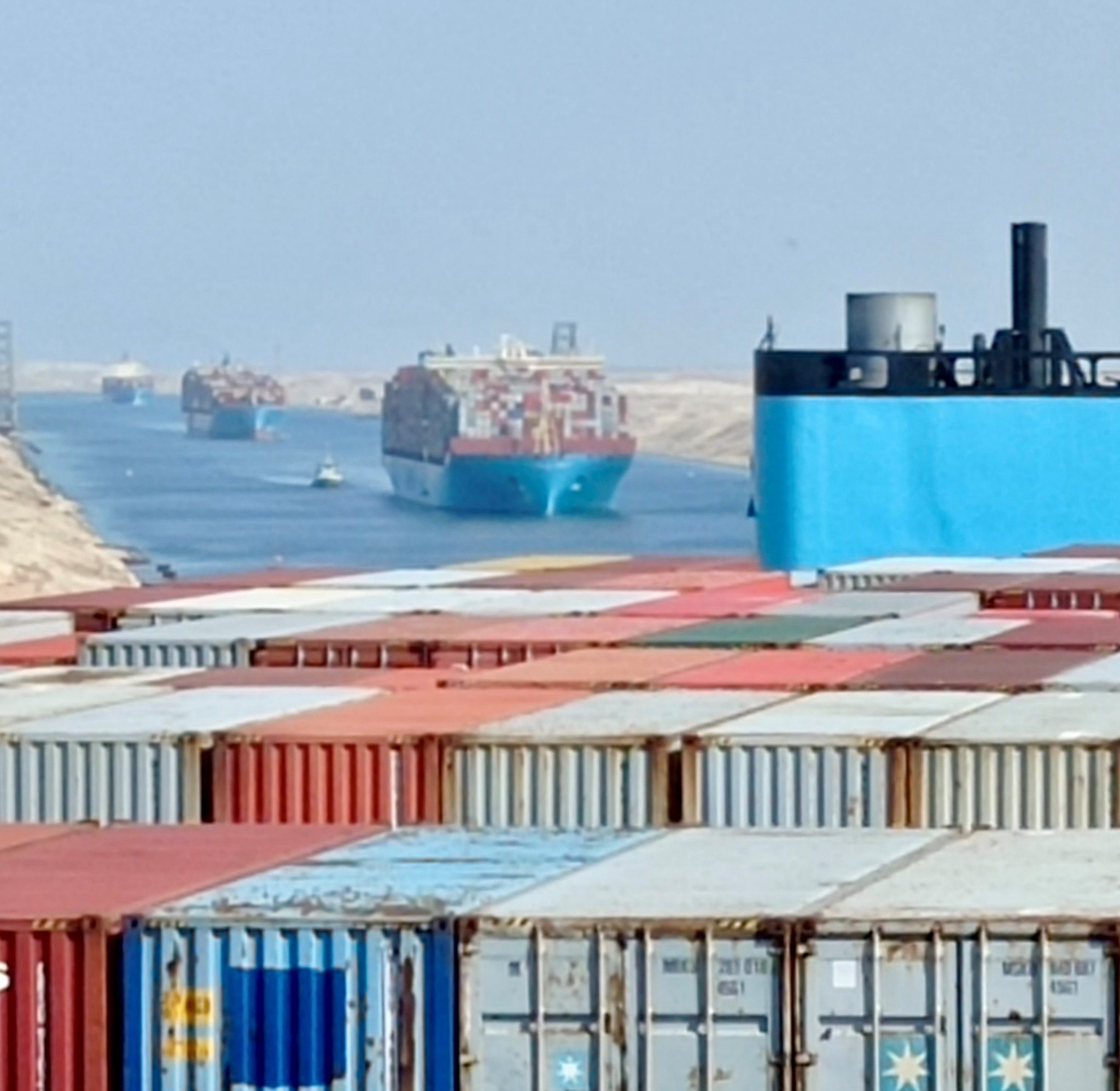 Veel Maersk-schepen maken de tocht over het Suezkanaal. (Foto Maersk)