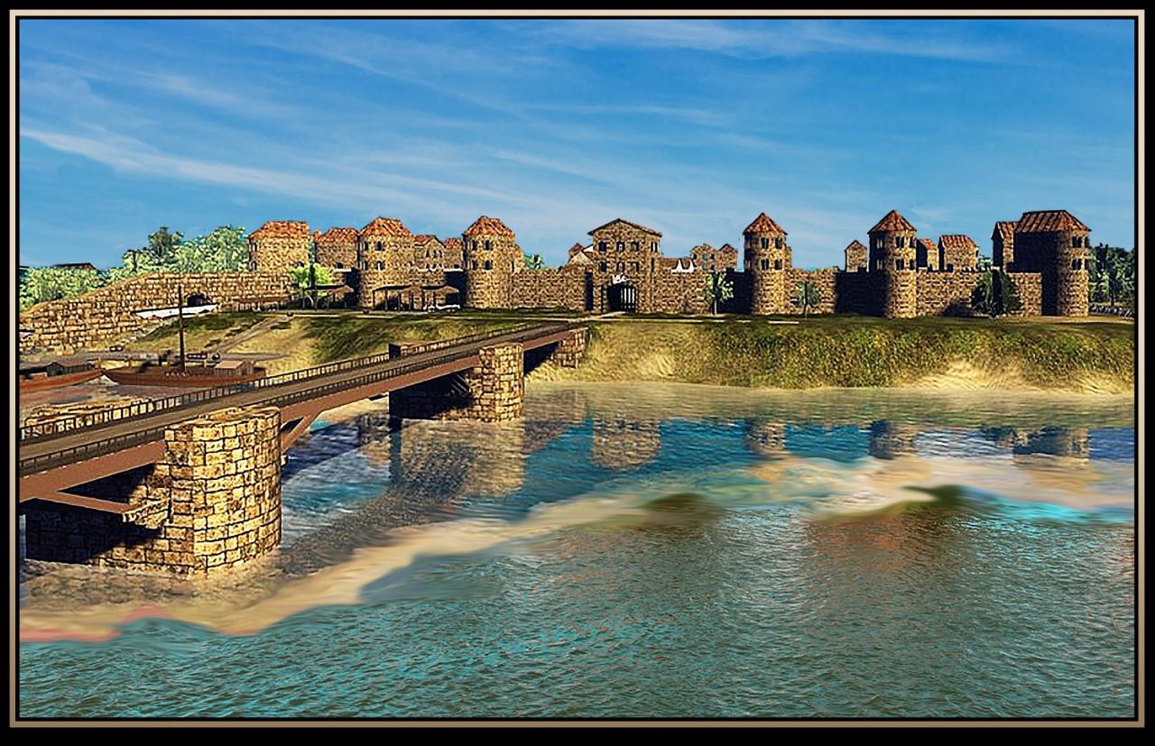 Een 'artist's impression' van de Romeinse brug bij Cuijk en het naastgelegen fort Ceuclum. De constructie was grotendeels van hout, vandaar dat er niet veel meer van is terug te vinden.