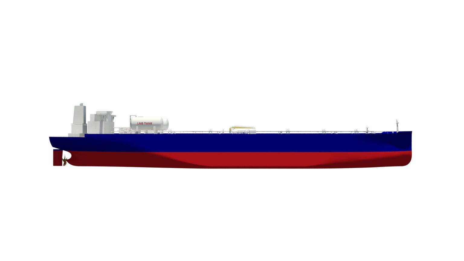 Artist's impression van een VLCC die Deawoo bouwt voor Shell. (Illustratie Shell)