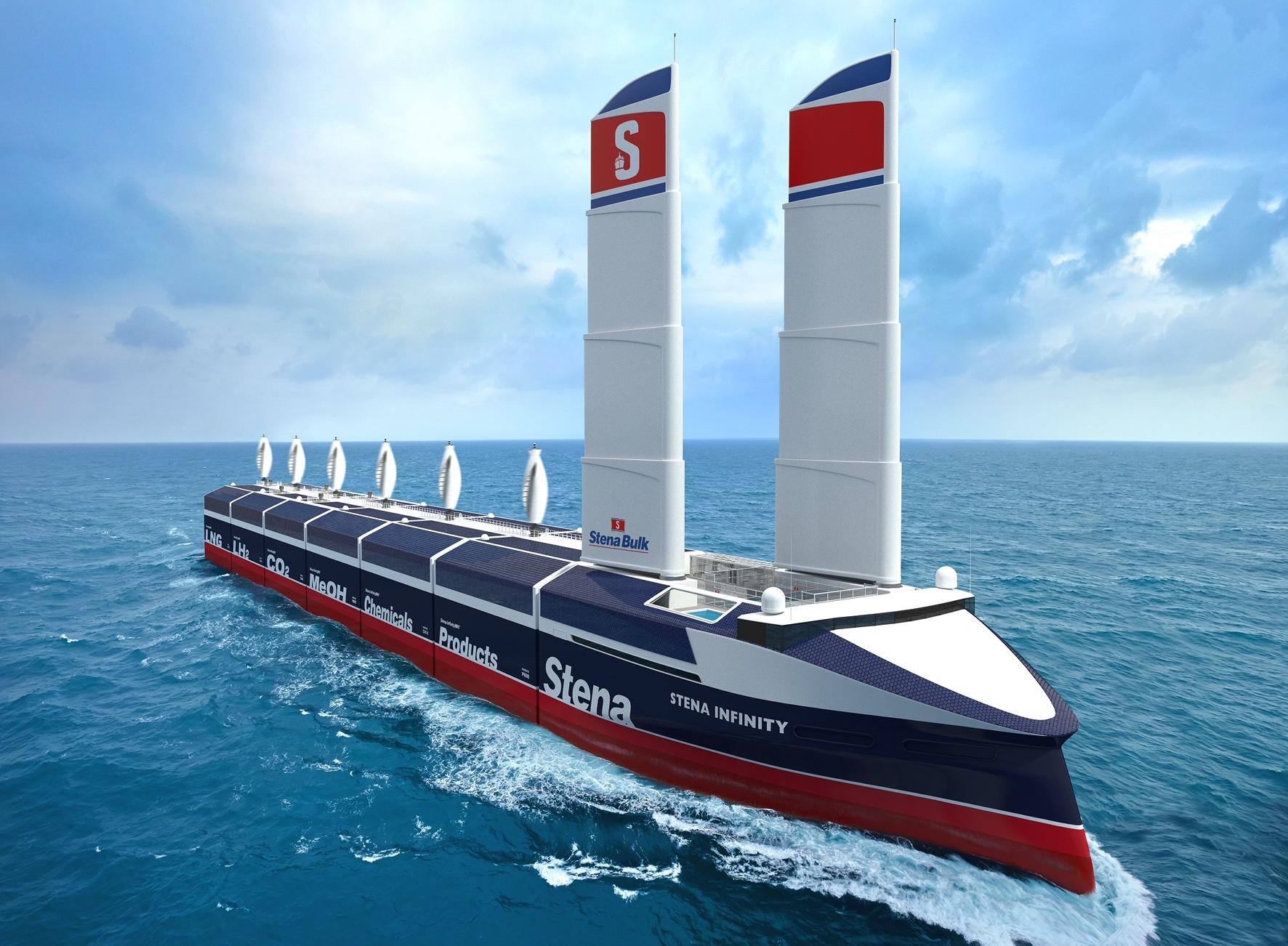 Het ontwerp van de modulaire bulker/tanker Infinity Max die Stena Bulk tussen 2030 en 2035 in de vaart wil brengen. Het schip wordt aangedreven door brandstofcellen op waterstof en windkracht. De lengte van het schip kan variëren van 90 tot 245 meter. (Artist's impression Stena Bulk)