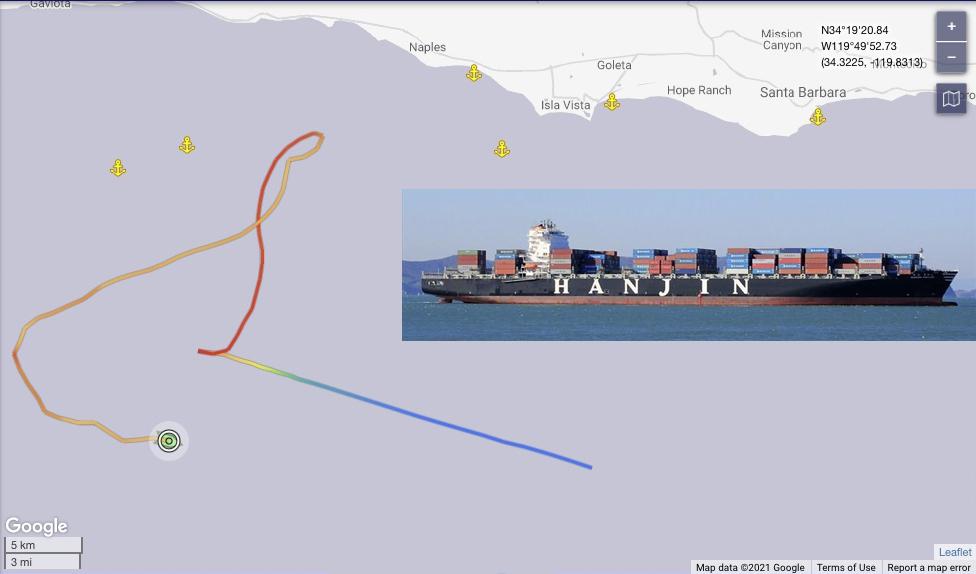 De President Eisenhower verdaagde snel naar de kust van California. (Beeld Marine Traffic)