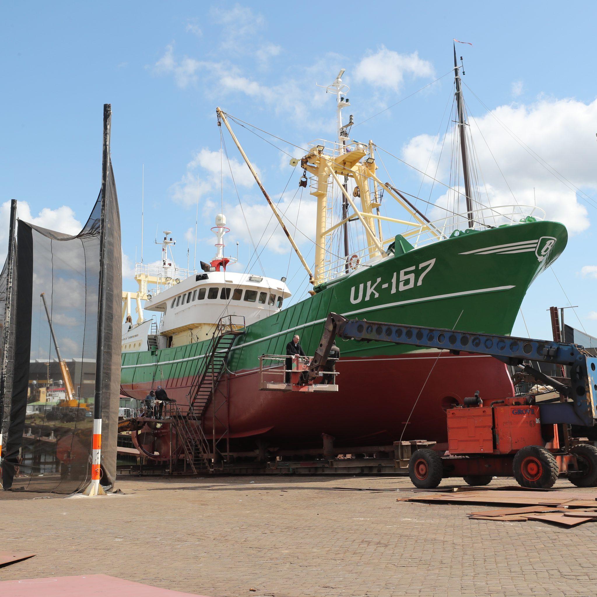De UK-157 op de werf van Van Laar in IJmuiden. (Foto Bram Pronk)