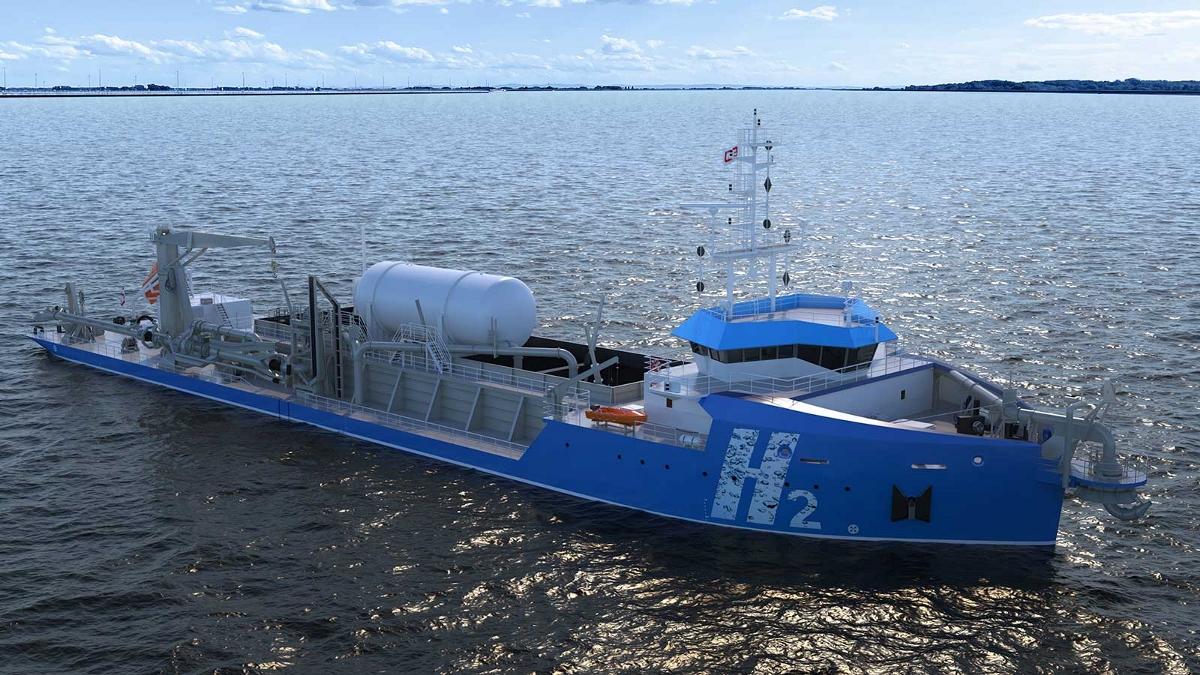 De sleephopperzuiger op waterstof die Royal IHC in ontwikkeling heeft. (Afbeelding: Royal IHC)