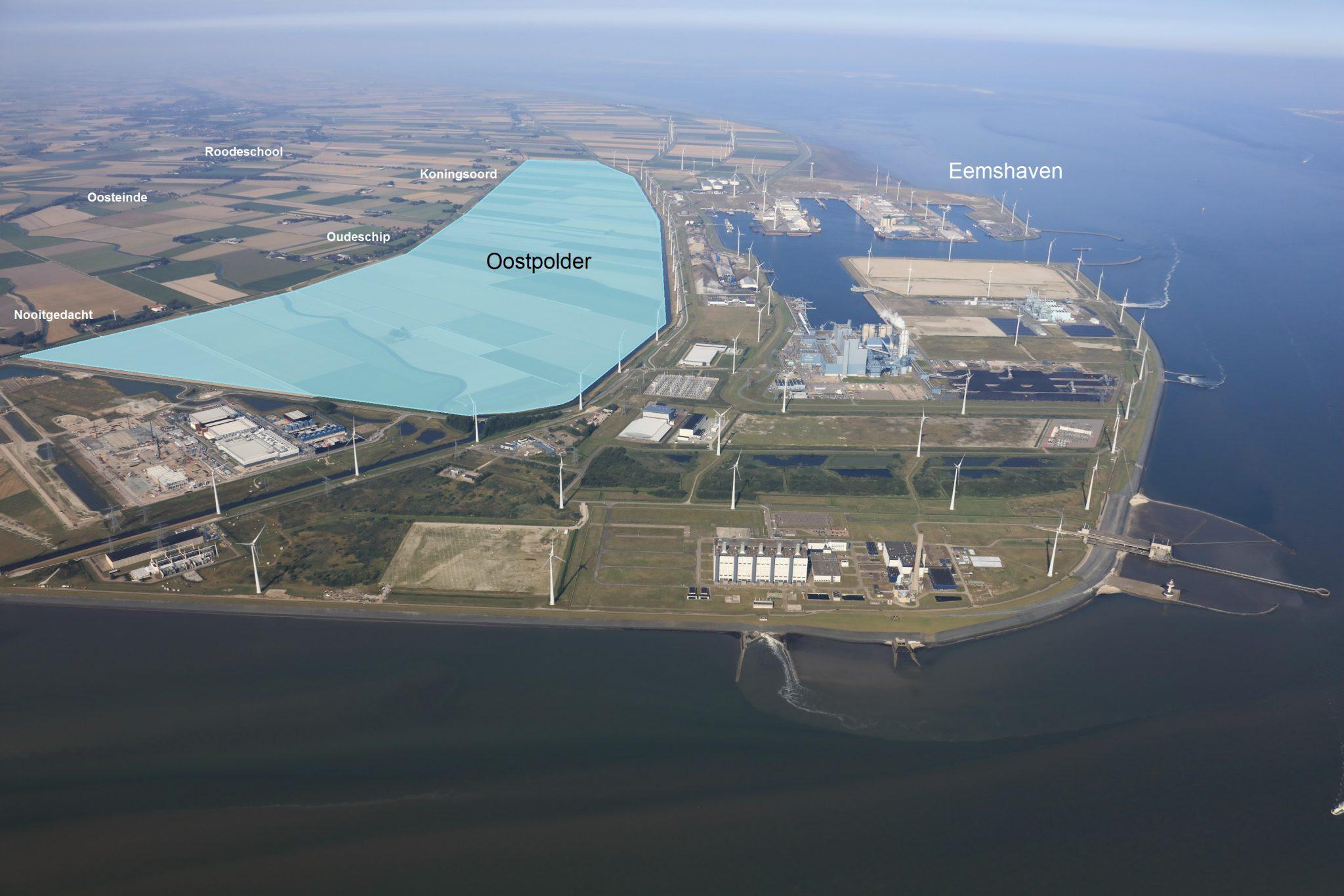 De geplande uitbreiding van de Eemshaven (impressie Groningen Seaports / Koos Boertjens)