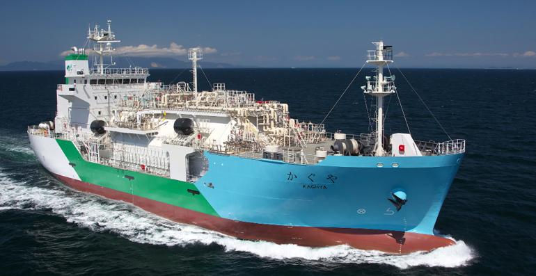 Het 3500 m3 LNG bunkerschip Kaguya. (Foto Kawasaki Heavy Industries)