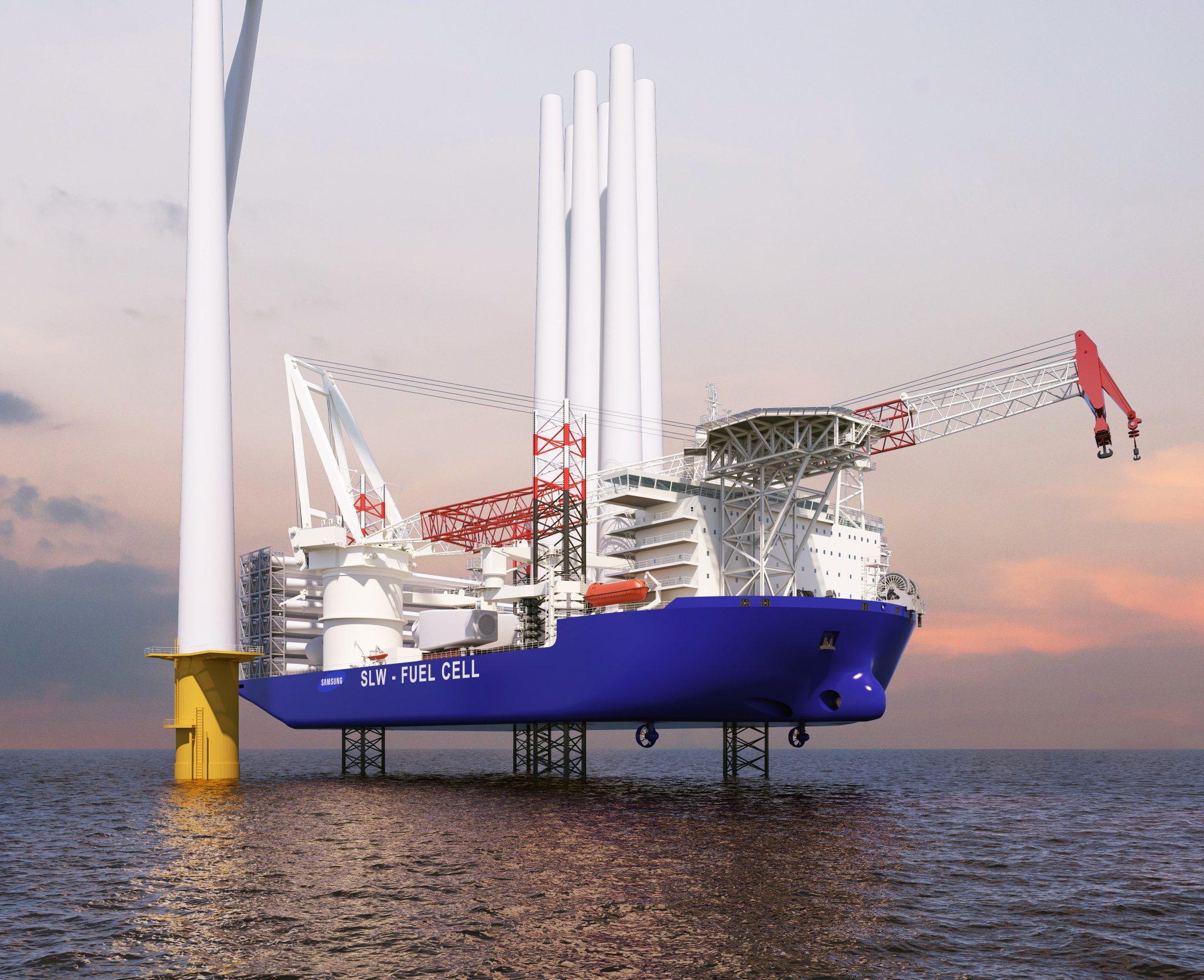 Het uitstootbesparende windturbine-installatieschip van Samsung Heavy Industries. (Artis's impression Samsung Heavy Industries)