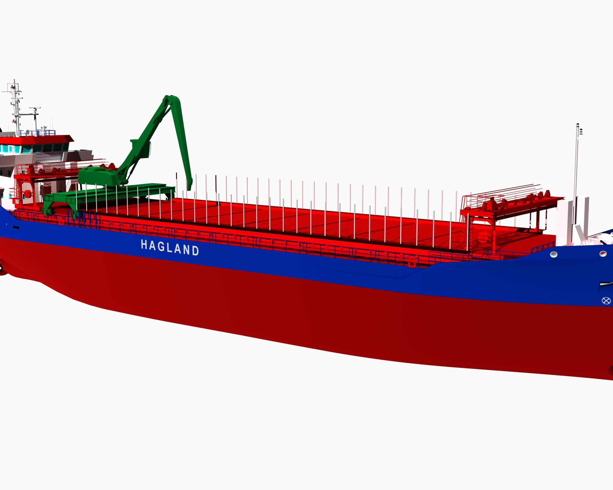 De zelflossende hybride bulker waarvan Royal Bodewes er twee gaat bouwen voor het Noorse Hagland Shipping met een optie voor nog eens twee exemplaren. (Illustratie Royal Bodewes)