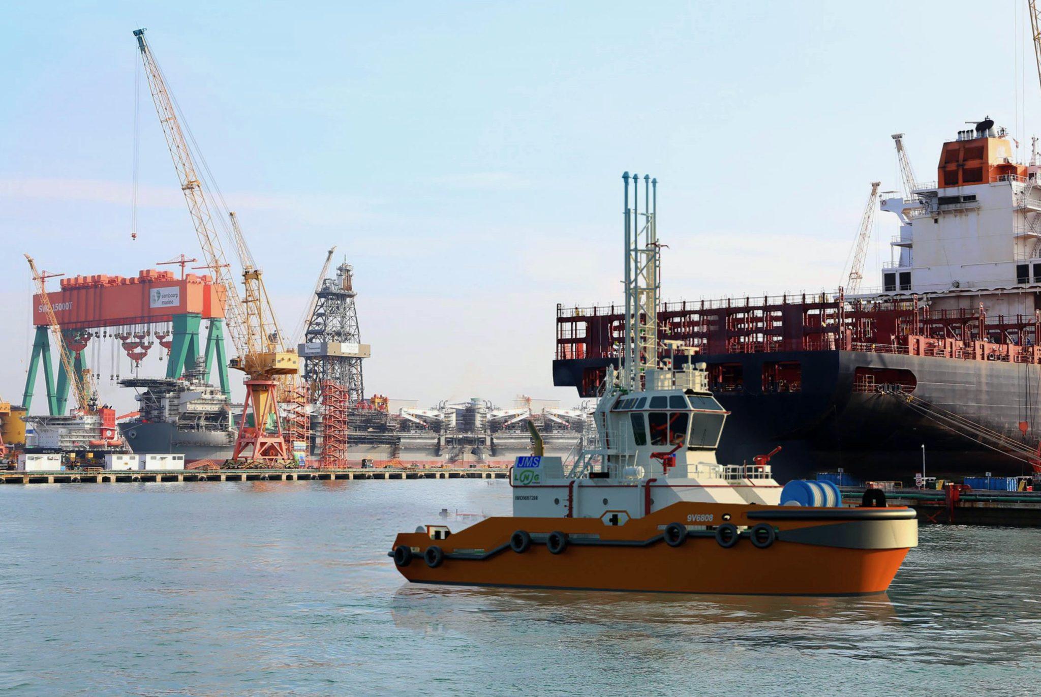 De haven van Singapore krijgt een vloot van 12 van deze hybride havenslepers. Ze kunnen op LNG en elektrisch varen. (Illustratie Sembcorp Marine)