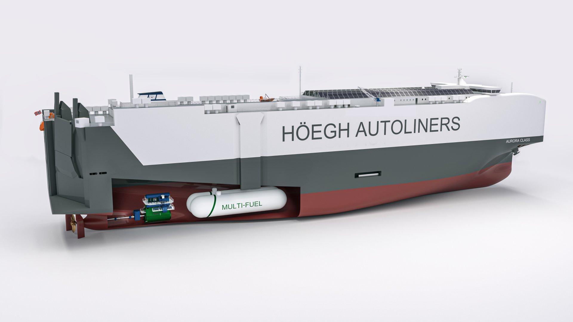 Artist's impression van de Höegh carcarrier met 'multi fuel'-motoren. (Illustratie Höegh Autoliners)