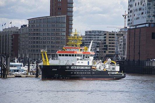 Het 75 meter lange schip werd voor €114 miljoen gebouwd op de Fassmer Werft in Berne. (Foto BSH)