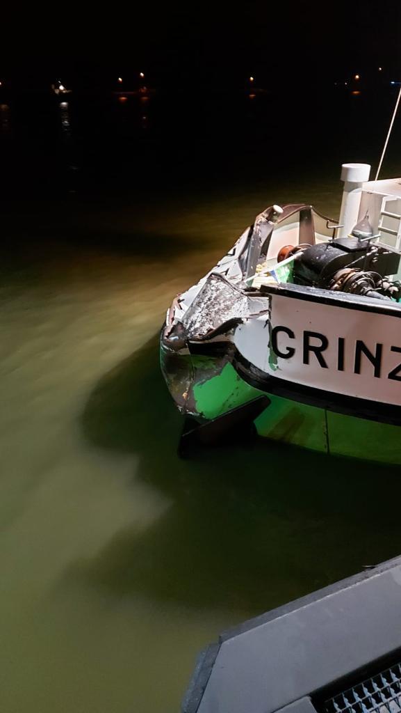 De ingedeukte kop van de Grinza VII. (Foto van social media)