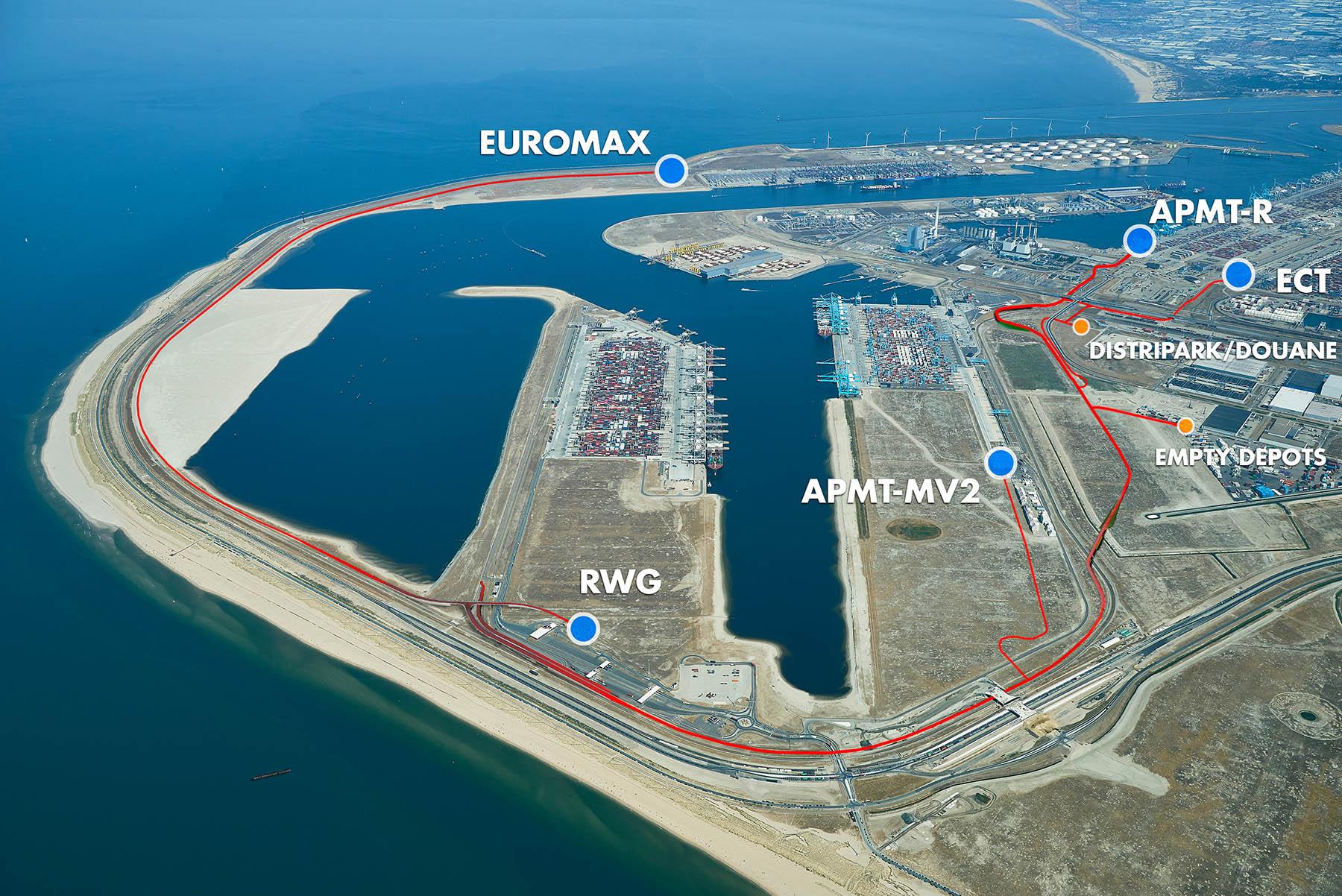 De Container Exchange Route moet ervoor zorgen dat containers makkelijker vervoerd kunnen worden binnen de Maasvlakte. (Foto Havenbedrijf Rotterdam)