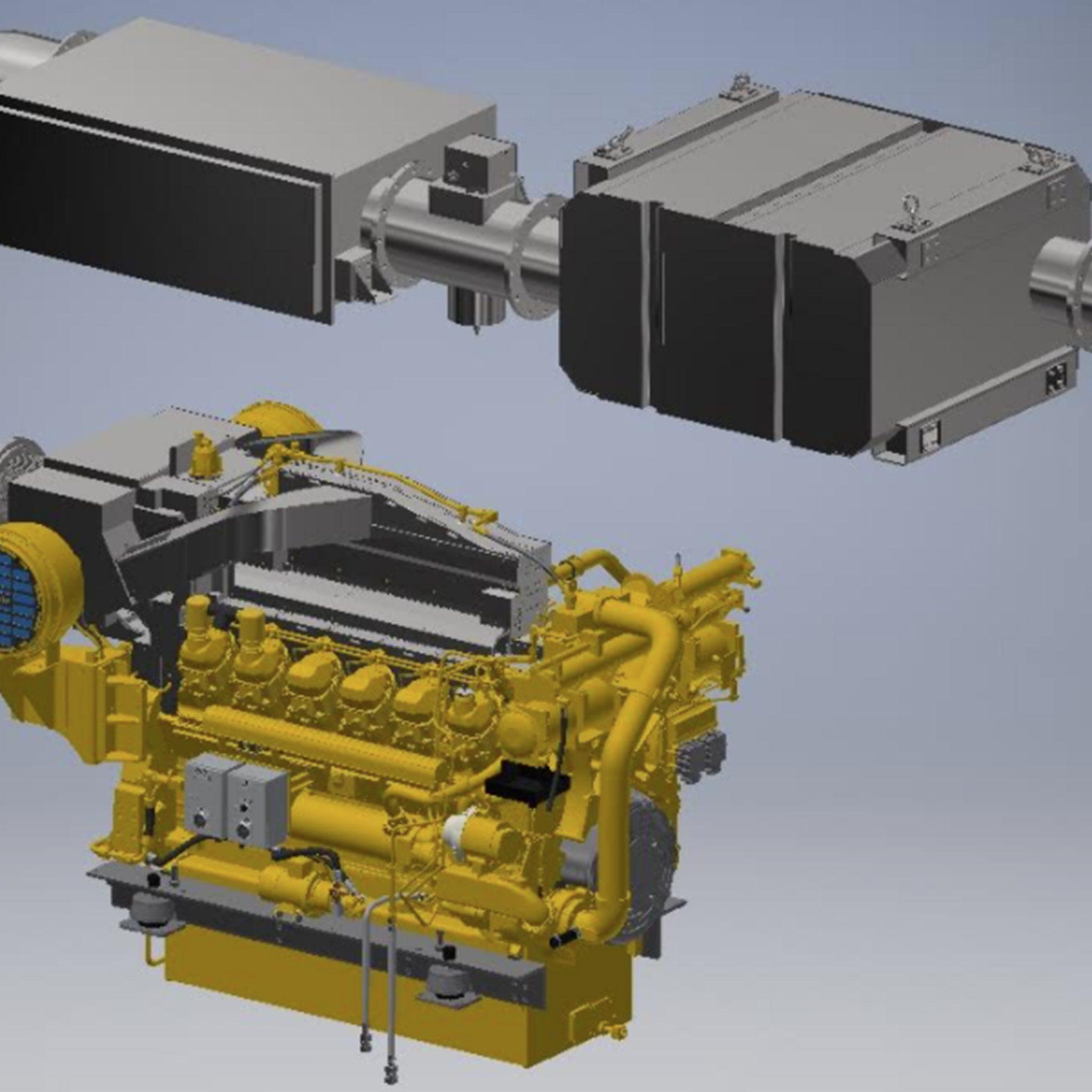 De Caterpillar 3512 E met SCR-katalysator en roetfilter. (Foto's Pon Power)