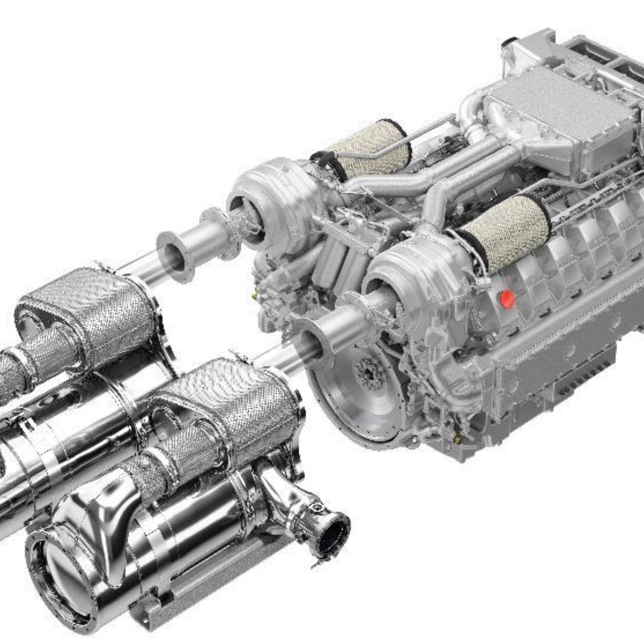 De MAN V12 IMO Tier III-motor. (Foto MAN)