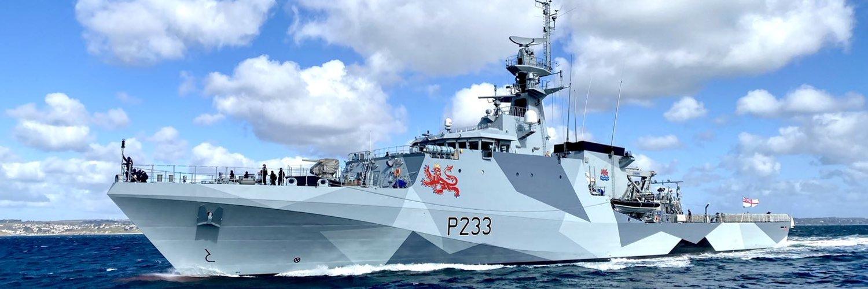 De HMS Tamar is een van de patrouilleschepen die onderweg is (Foto Twitter / HMS Tamar)