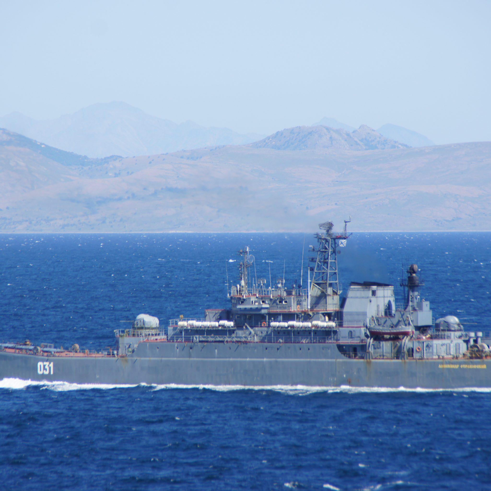 Russisch marineschip gespot in de Dardanellen.