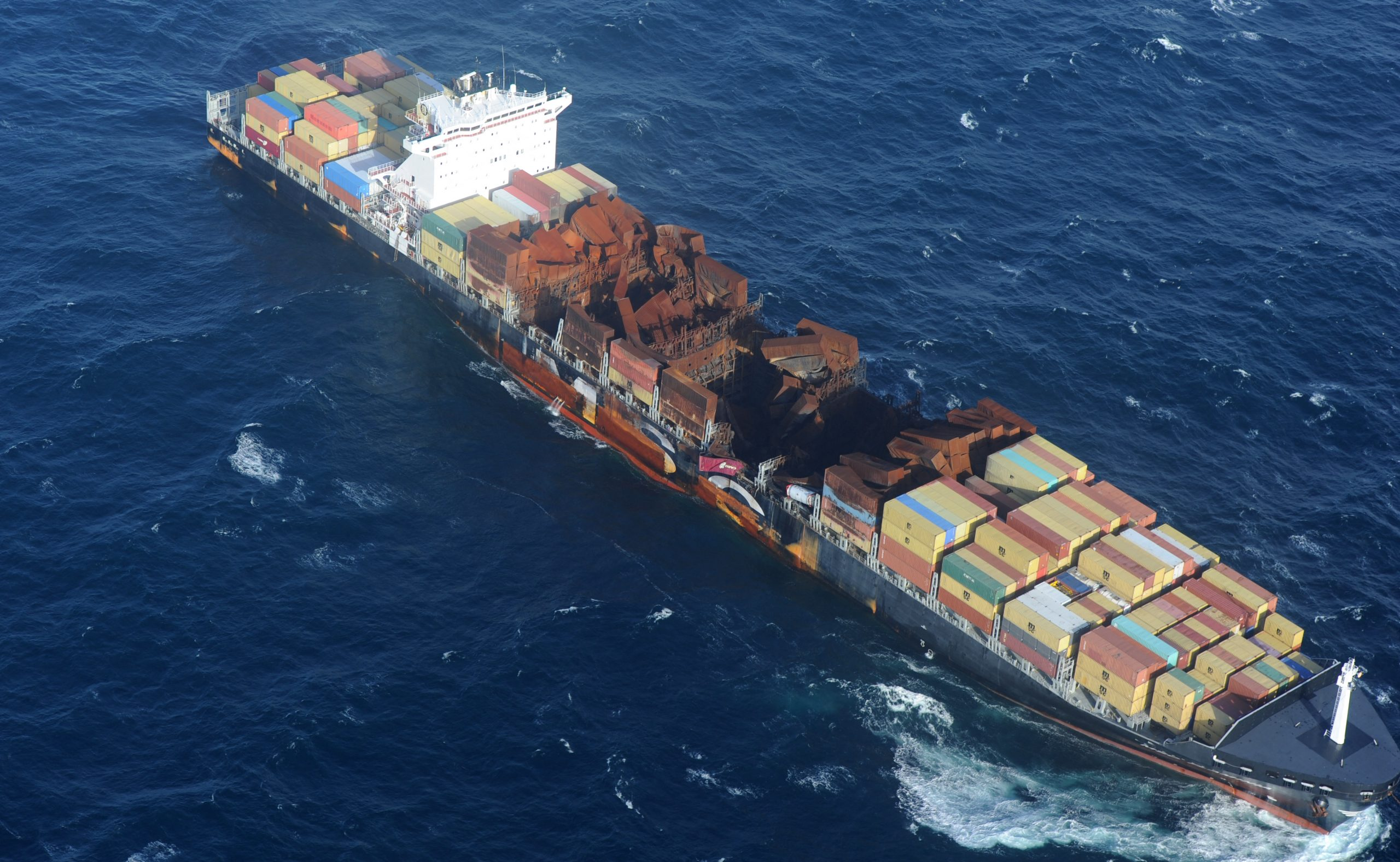 De MSC Flaminia werd door Smit naar Duitsland gesleept (Foto ANP / AFP)