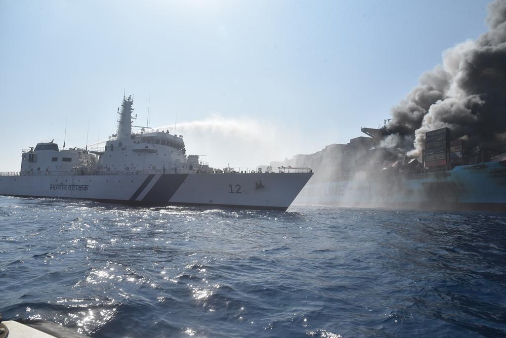 Brand op de Maersk Honam (Foto Wikipedia)