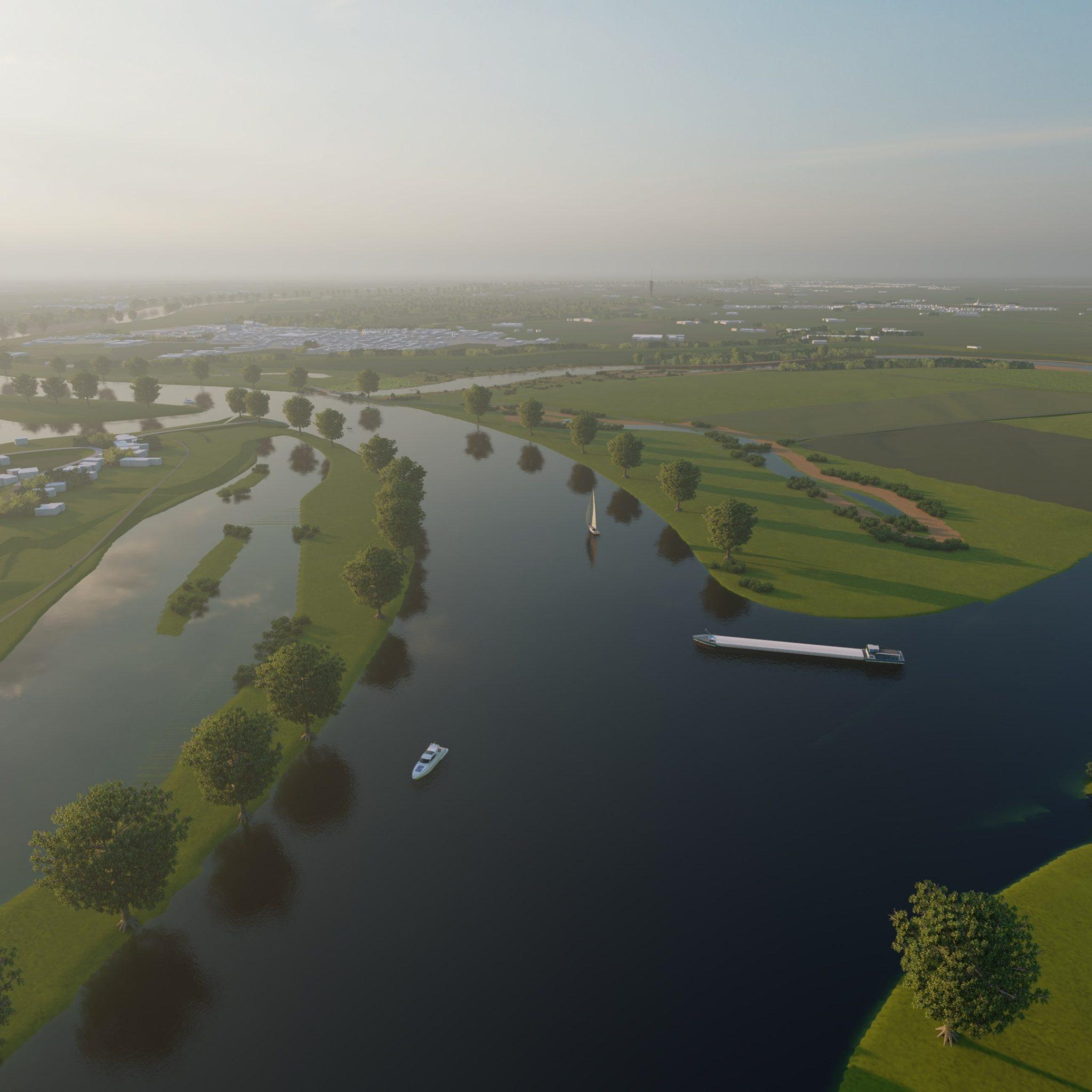 De haven van Oss wordt beter bereikbaar voor grote schepen door een verruiming van de monding van het Burgemeester Delenkanaal (Foto Boskalis)