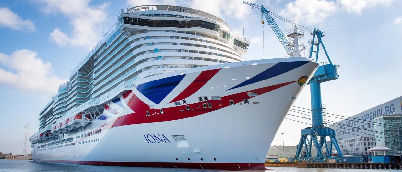 Het is duidelijk dat het om een Britse cruiseschip gaat (Foto Meyer Werft)