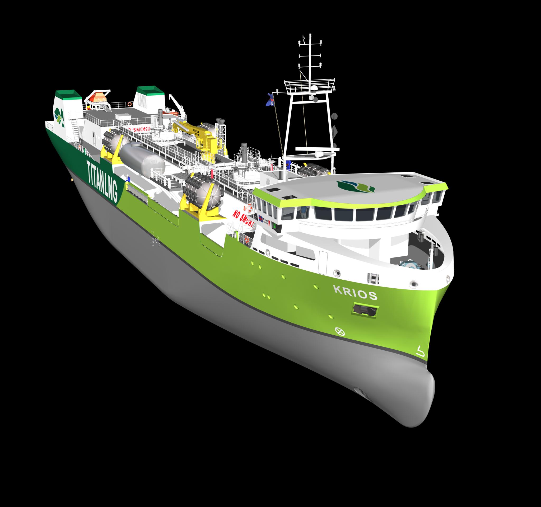 De Krios, het derde eigen schip van Titan LNG dat vanaf 2023 vanuit Zeebrugge ingezet wordt in Het Kanaal. (Illustratie Titan LNG)