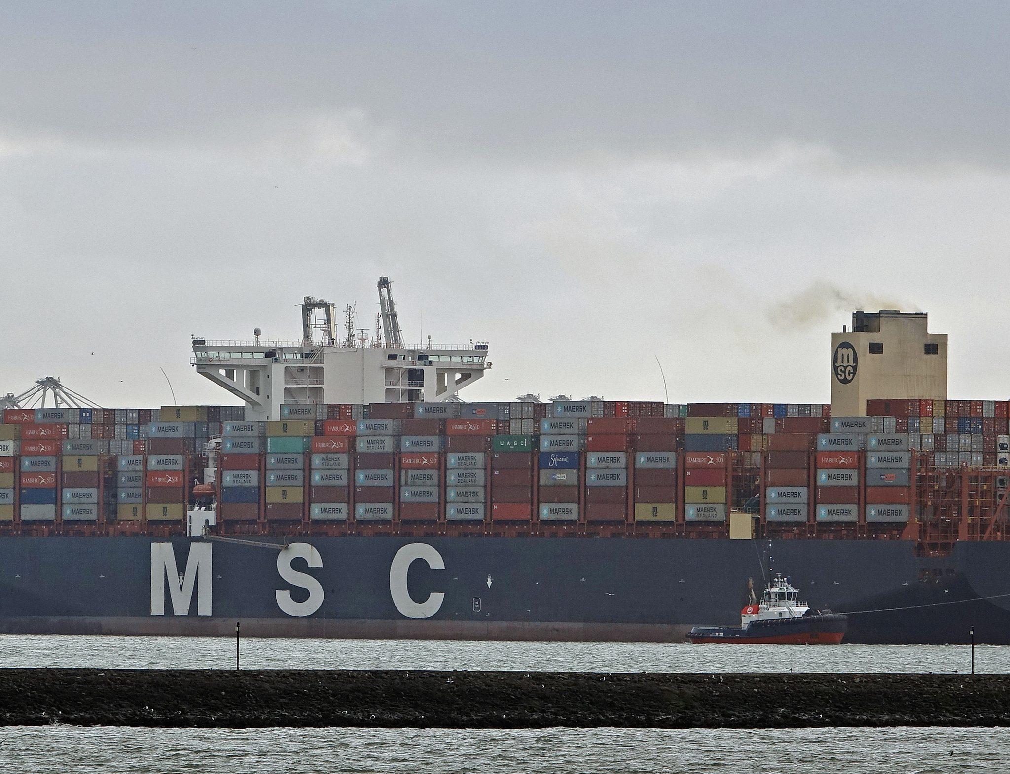 De MSC Rifaya was het eerste schip wat in de haven van Rotterdam aankwam na de blokkade van het Suezkanaal. (Foto Port of Rotterdam)