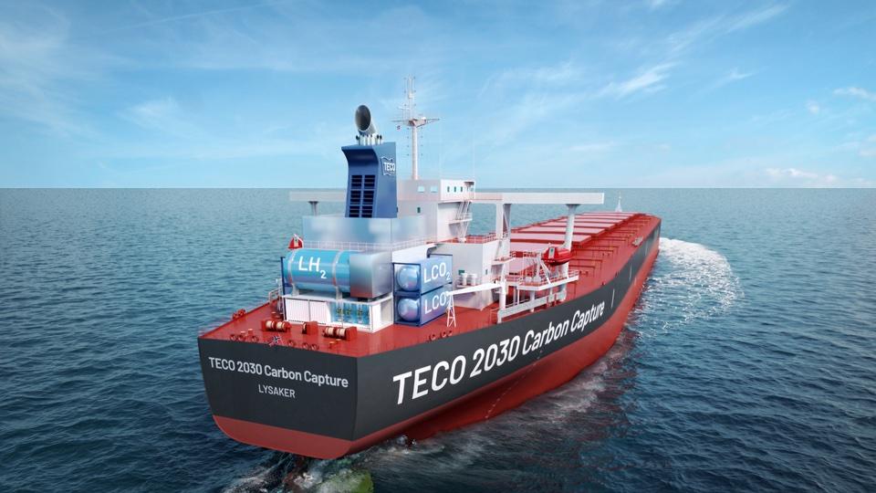 Artist's impression van een schip waar de CO2 wordt afgevangen (Beeld Teco 2030)