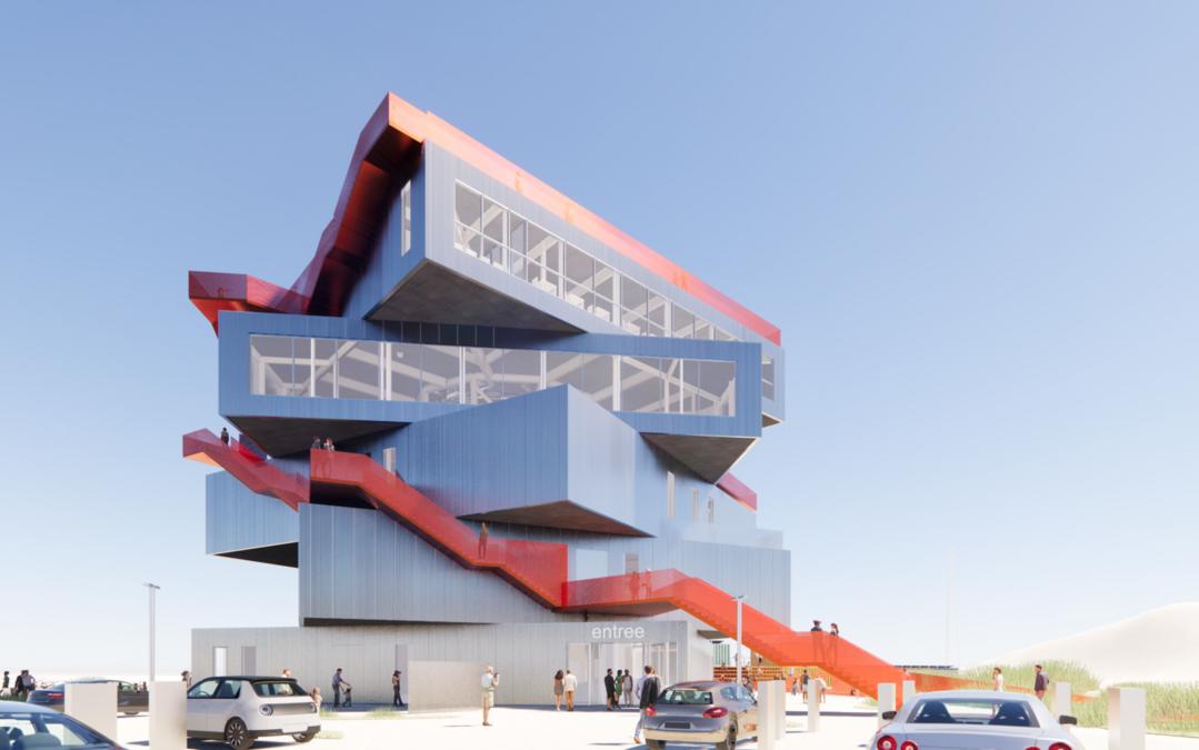 Het ontwerp van het nieuwe havenervaringscentrum. (Foto Havenbedrijf Rotterdam)
