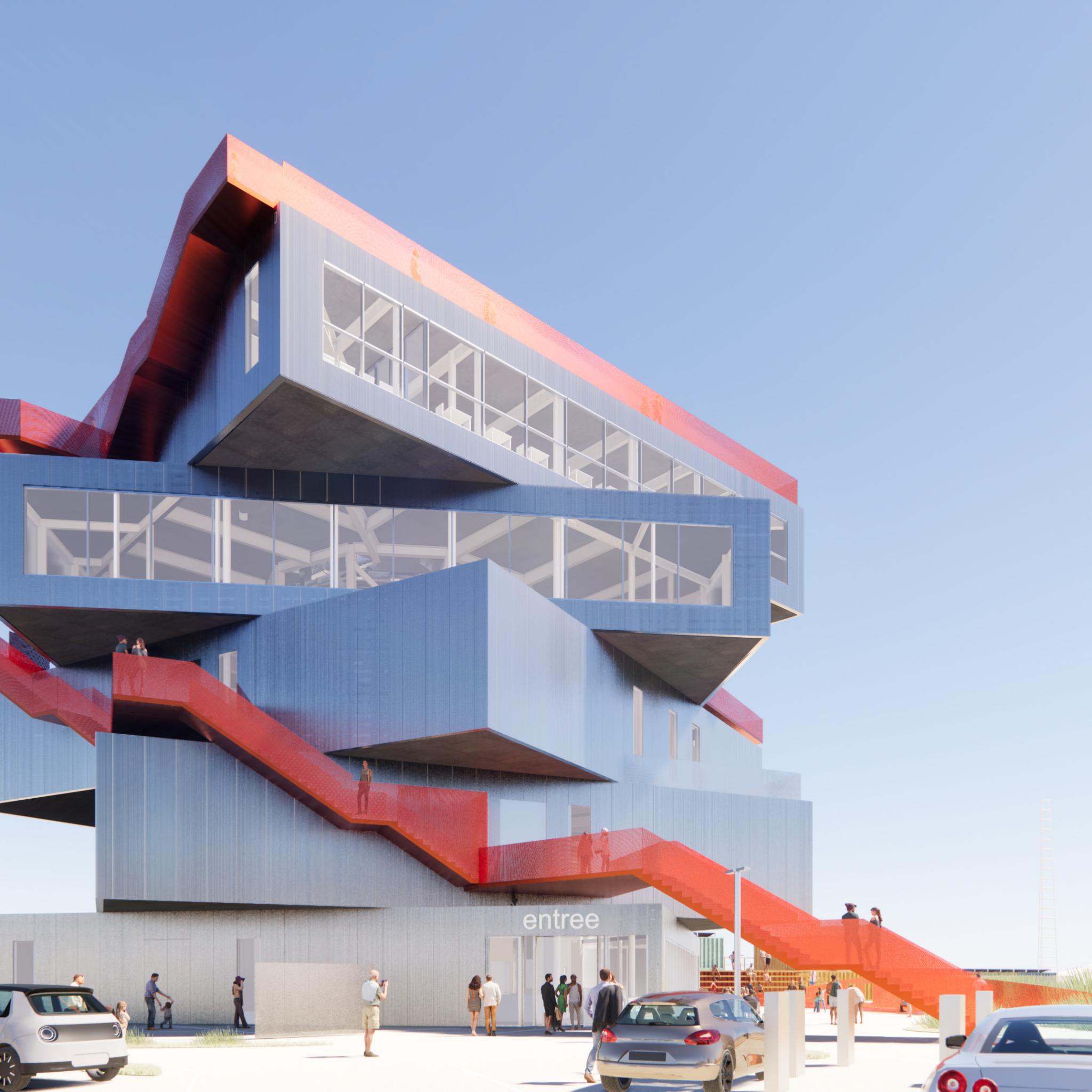 Het ontwerp van het nieuwe havenervaringscentrum met de gedraaide verdiepingen en de panorama ramen. (Foto Havenbedrijf Rotterdam
