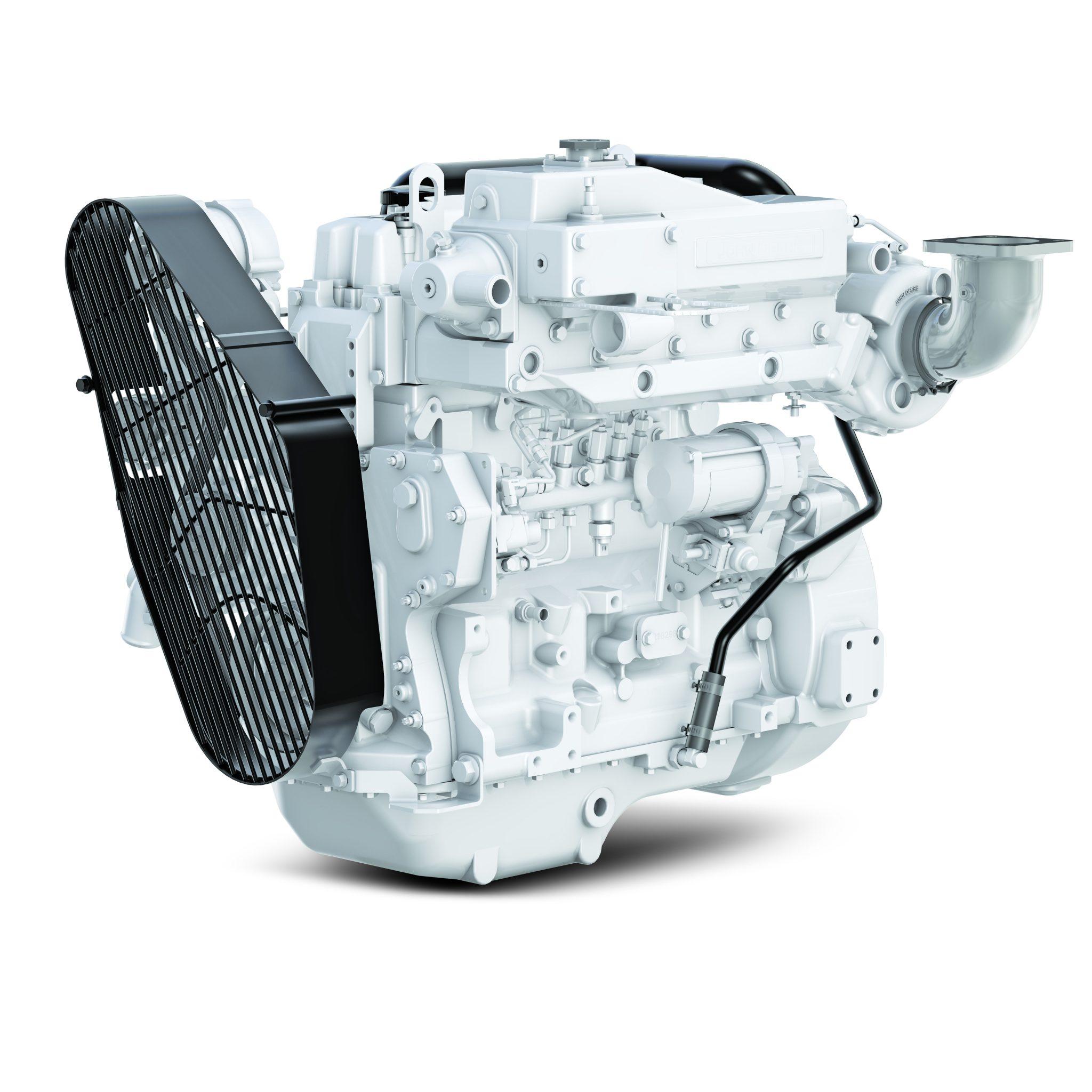 De Stage V gecertificeerde 4,5 liter-motor van John Deere, de 4045TFM85 levert 61 kW bij 1500 toeren.