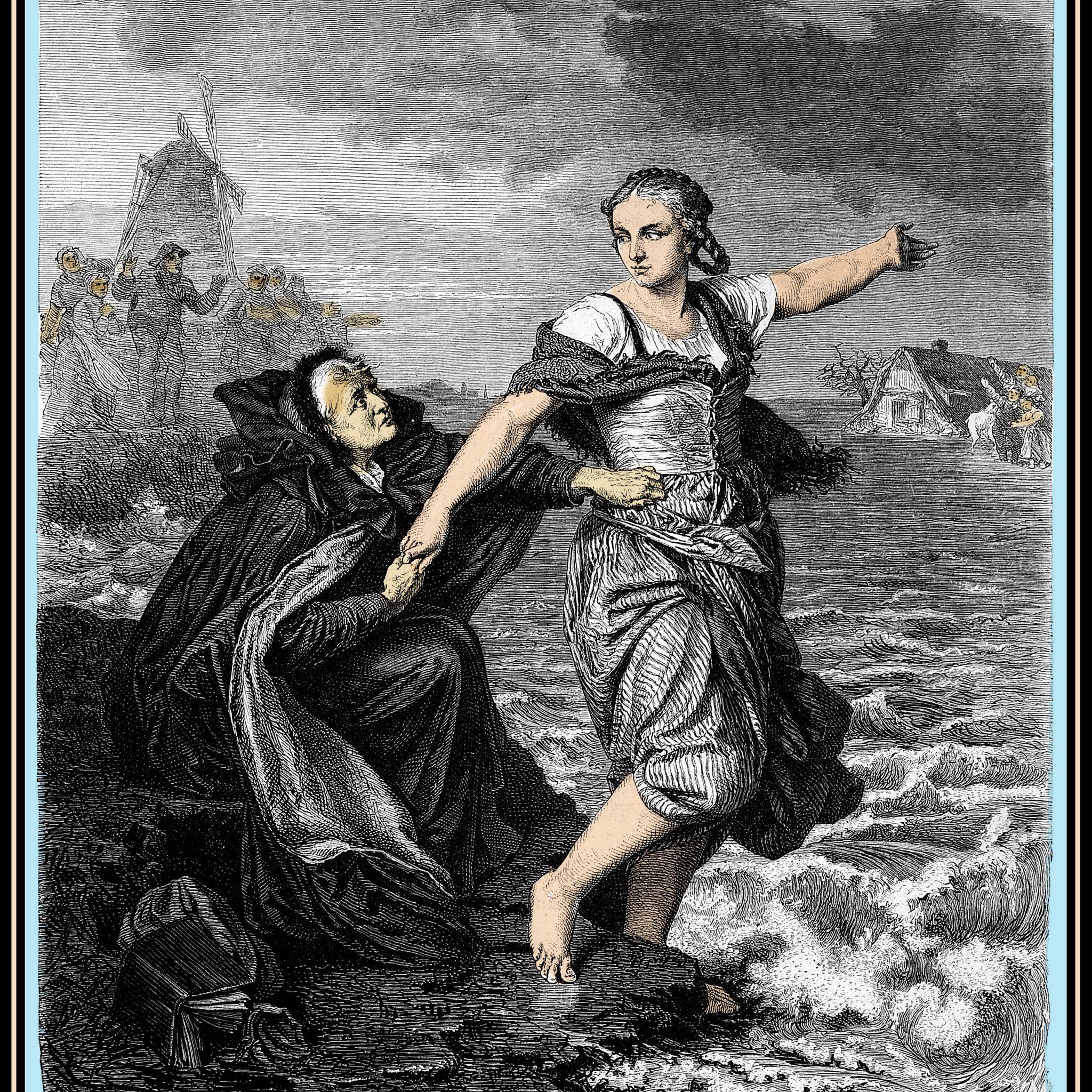 Een gedramatiseerde afbeelding van de Kleefse heldin Johanna Sebus die door haar moeder wordt belet wederom het water in te gaan om mensen te redden.