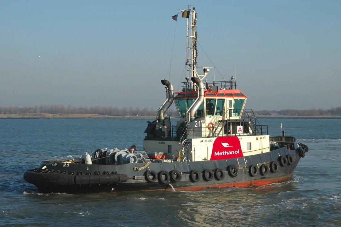 De methatug is de eerste sleepboot op methanol ter wereld (Foto Port of Antwerp)