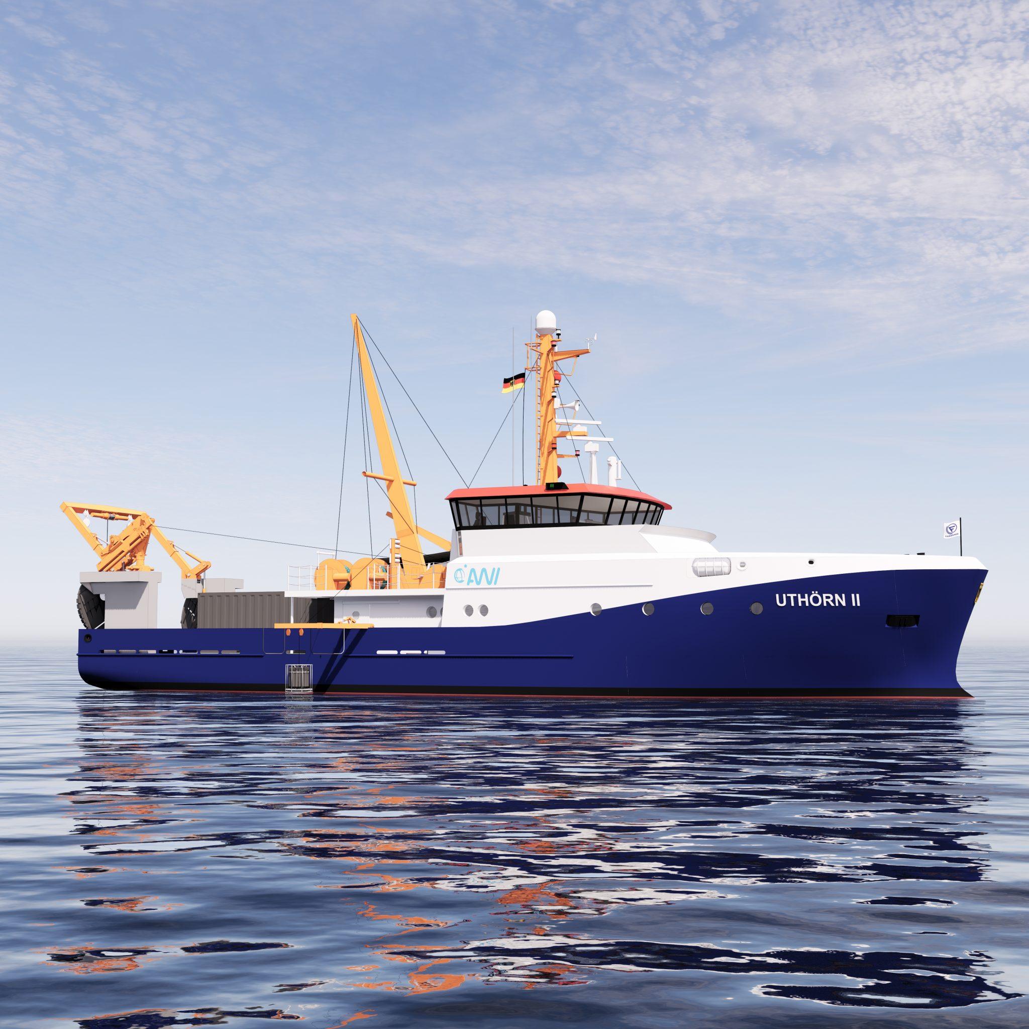 De Uthörn II meet 35 x 9 meter, krijgt een bemanning van 5 personen en heeft accommodatie voor vier onderzoekers. (Beeld ScandiNAOS)