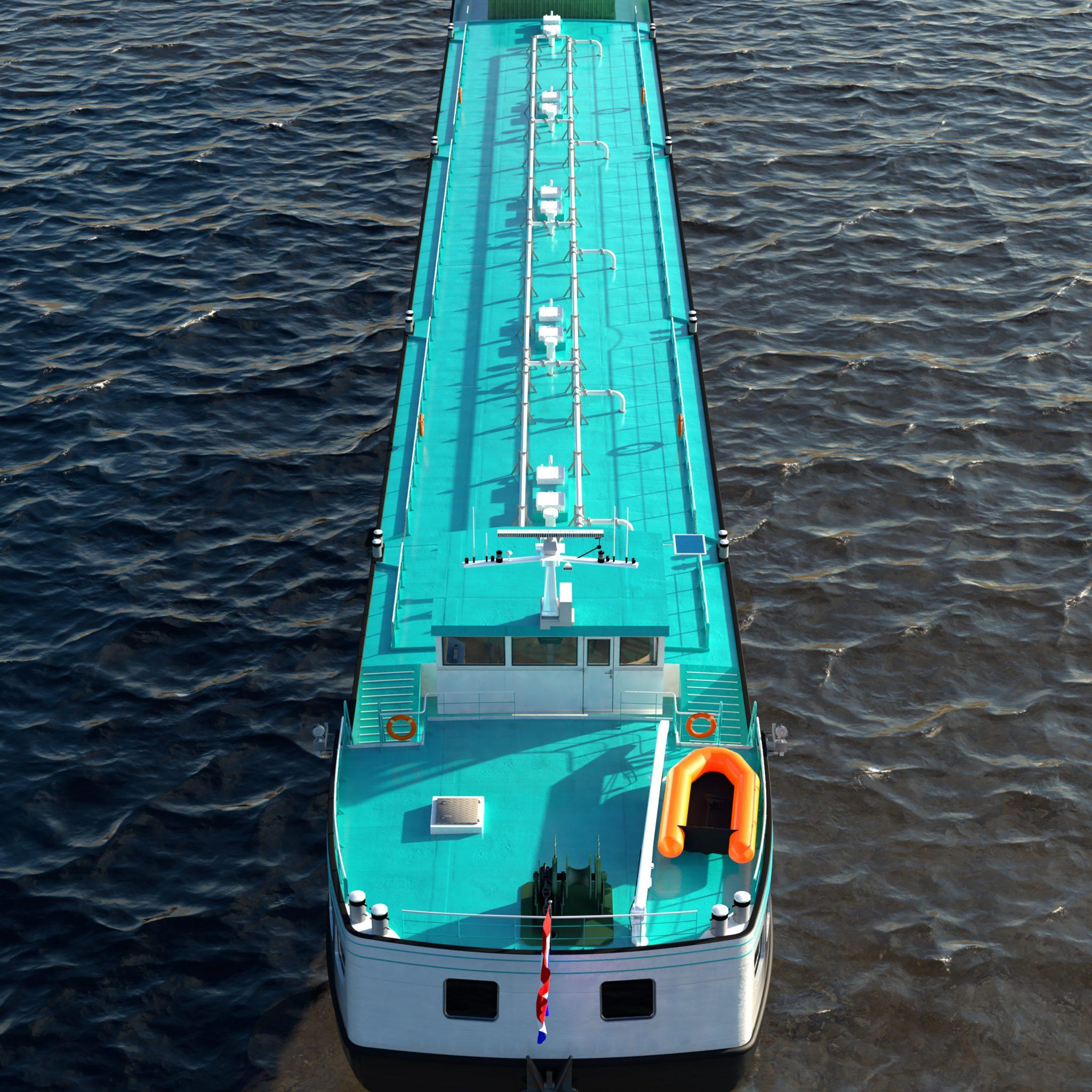 De waterstofcontainers zijn op het voorschip geplaatst, benedendeks is ruimte voor het brandstofcel-systeem.