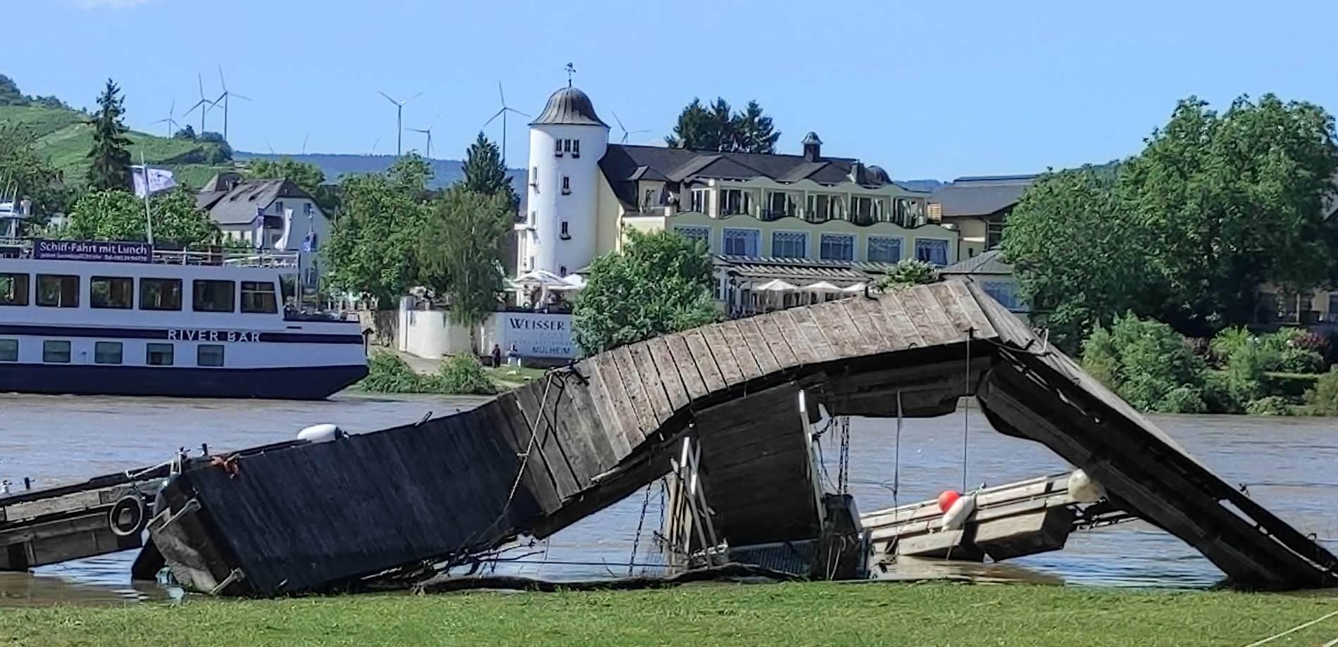 Vernielde steiger op de Moezel. Foto Volksfreund.de