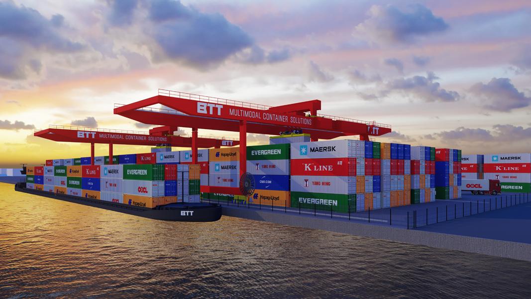 BTT, multimodaal dochterbedrijf van GVT, realiseert een nieuwe terminal in Bergen op Zoom. (Artist Impression GVT)