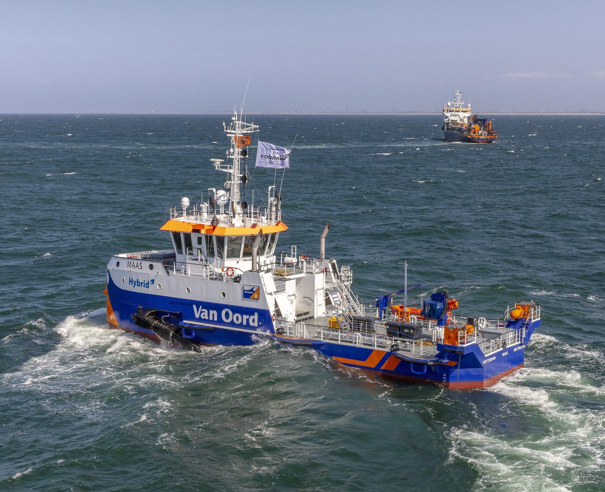 De Maas tijdens de proefvaart, een van de twee WID's. (Foto Kooiman Marine)