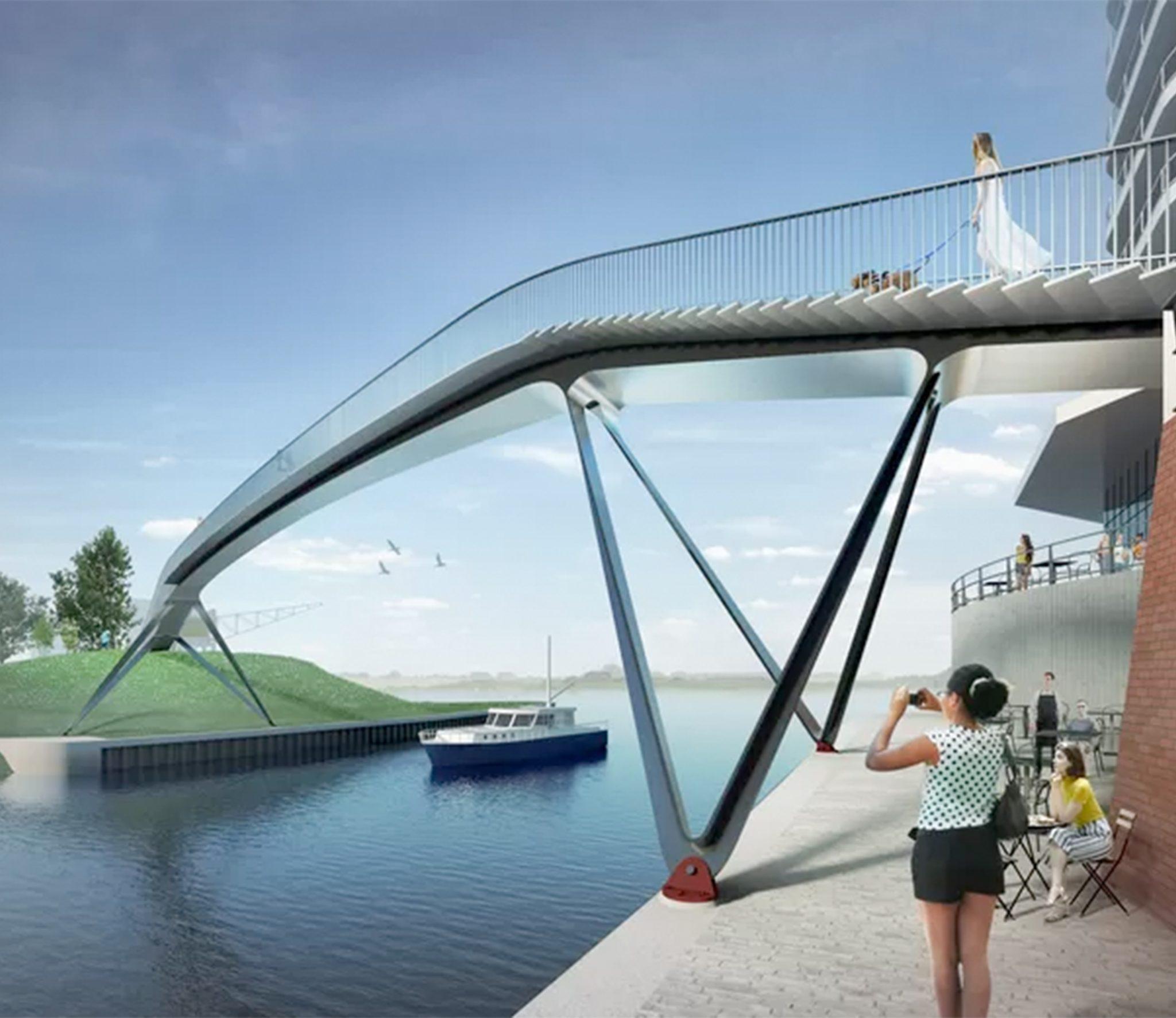 Architectenbureau Ney & Partners ontwierp de nieuw voetgangersbrug over de havenmond van de Nijmeegse Waalhaven. (Foto Ney Partners)
