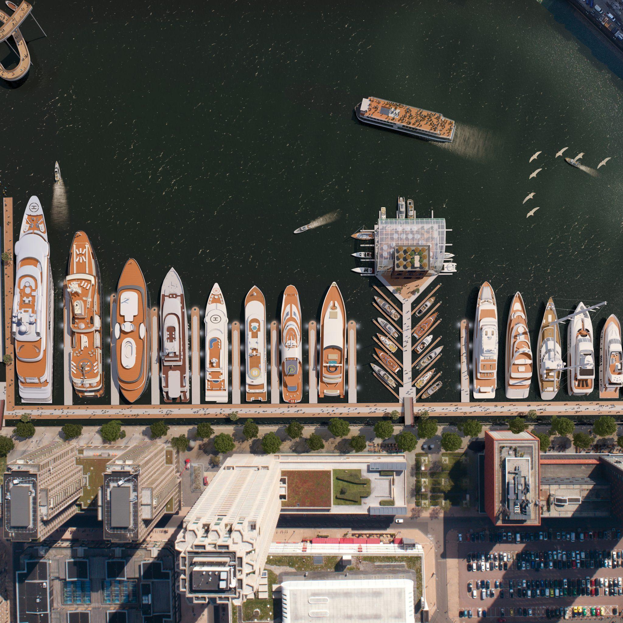 Superjachten in de Rijnhaven. (Artist's impression Rotterdam Yacht Port / 3df)
