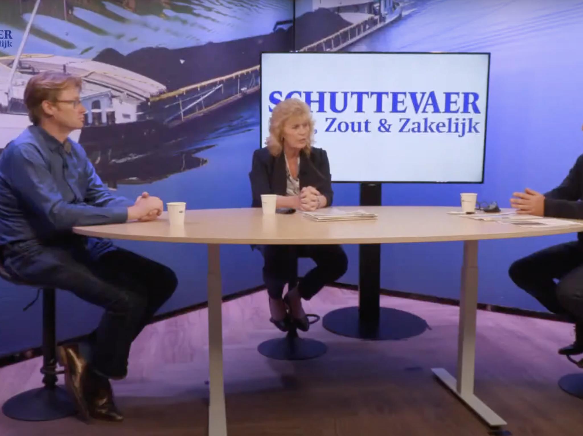 Maurits van der Linde (Platform Zero Incidents), Leny van Toorenburg (Koninklijke BLN-Schuttevaer) en René Quist in de aflevering van Studio Schuttevaer. 'Er is meer onderzoek nodig naar oorzaken incidenten.' (Beeld uit video)
