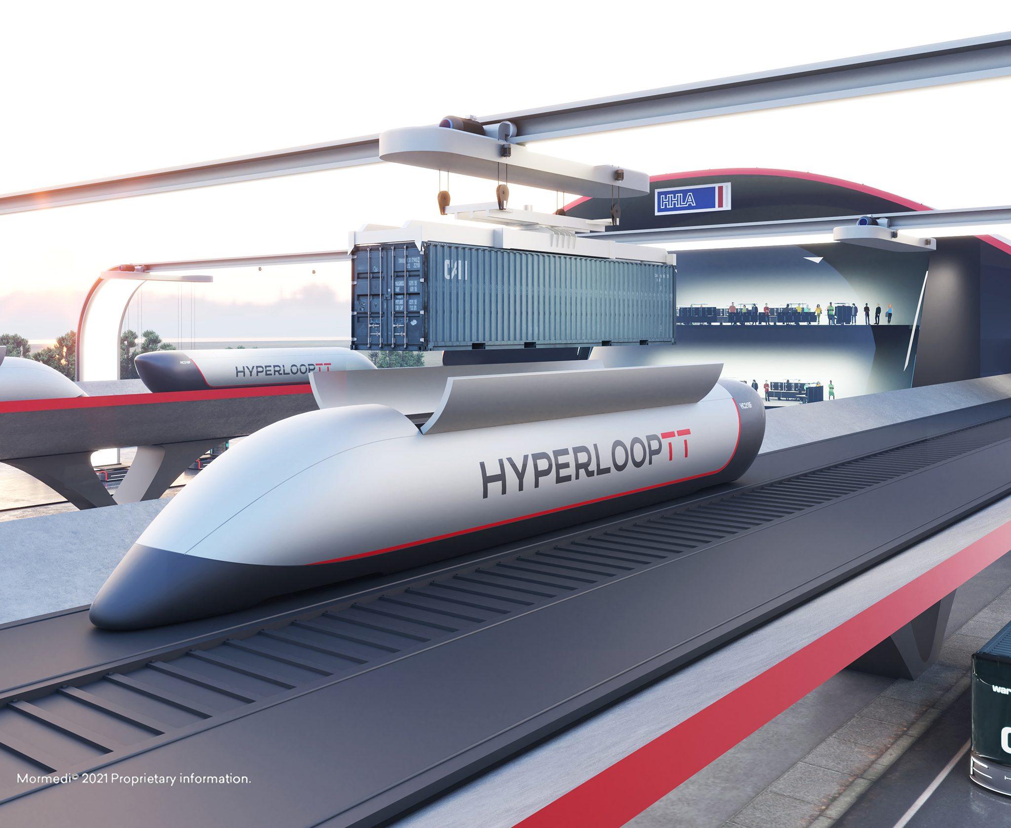 Artist's impression van het Hyperport hyperloop project voor HHLA in Hamburg. (Illustratie HHLA/Mormedi)