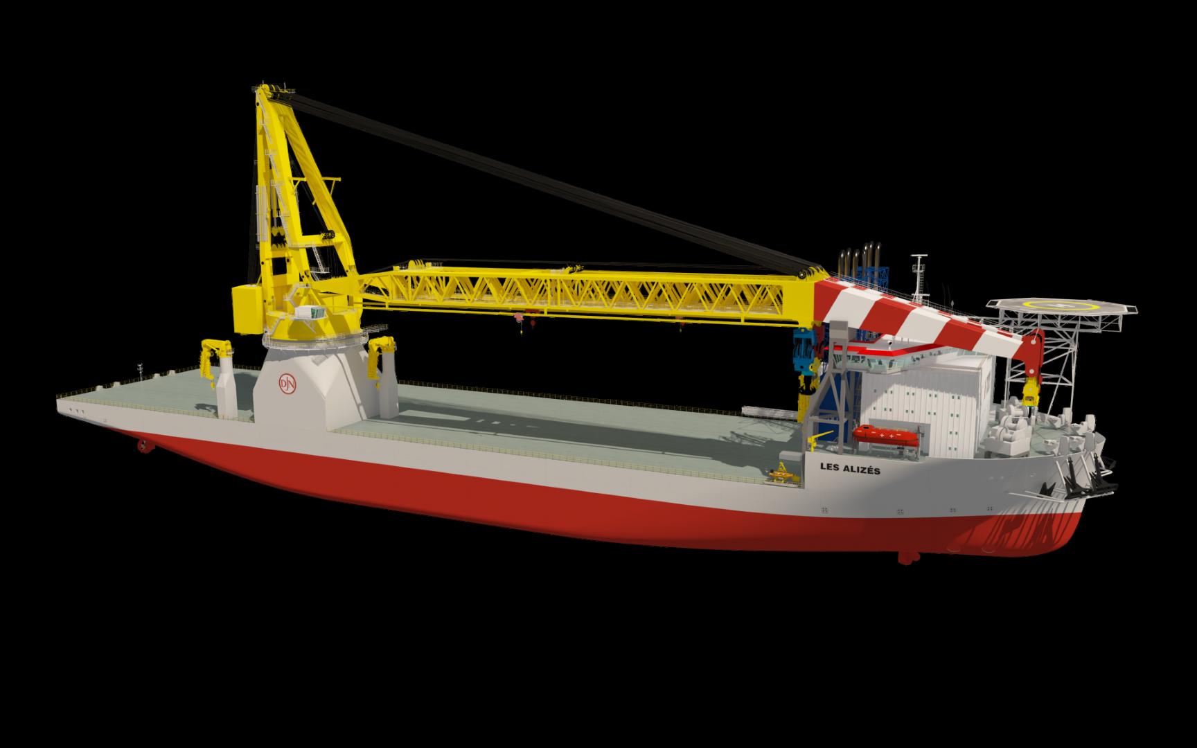 Artist's impression van het nieuwe kraanschip Les Alizes voor Jan De Nul. Het schip kan 5000 ton hijsen en 61.000 ton laden. (Illustratie Jan De Nul)