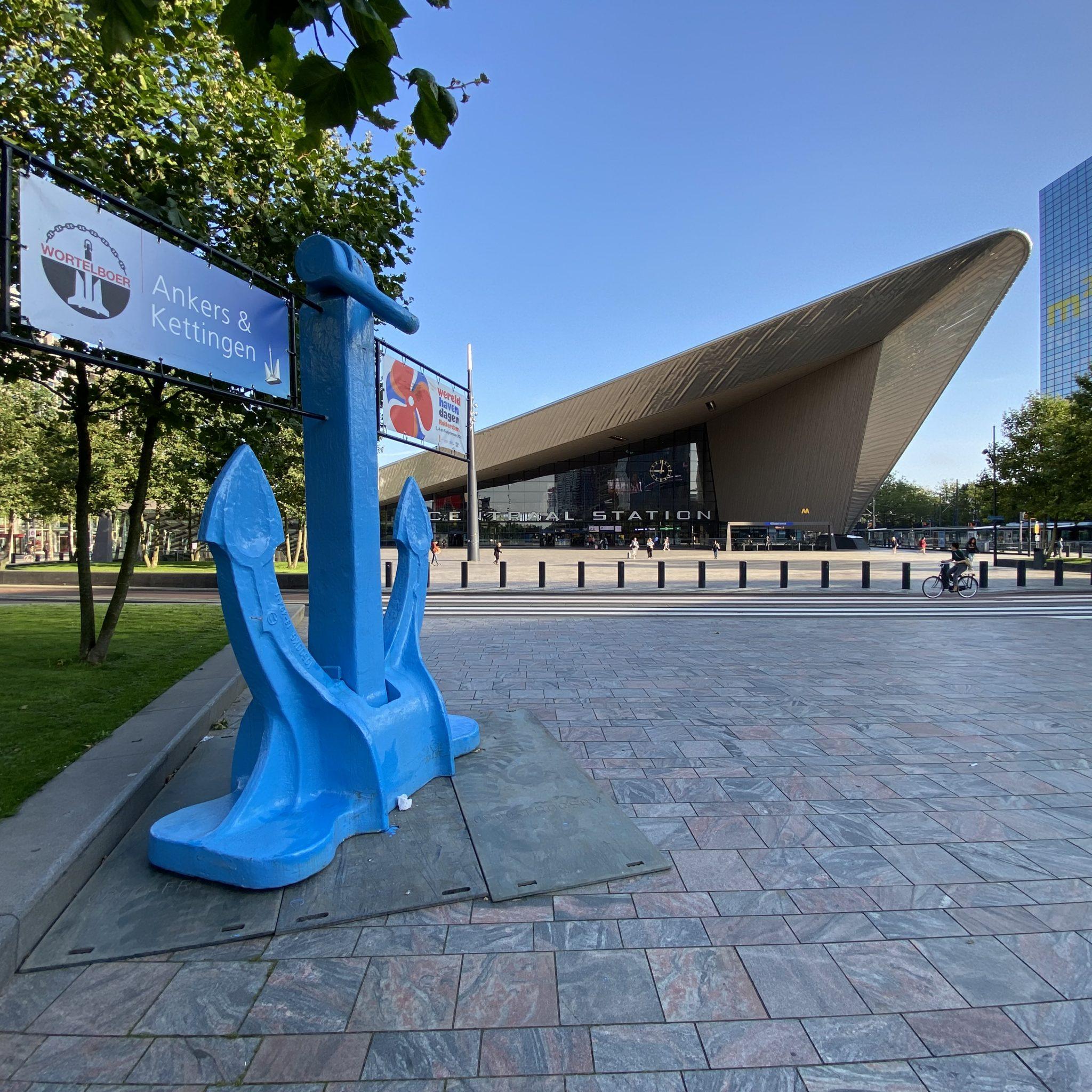 Anker voor het Centraal Station van Rotterdam. (Foto Jelmer Bastiaans)