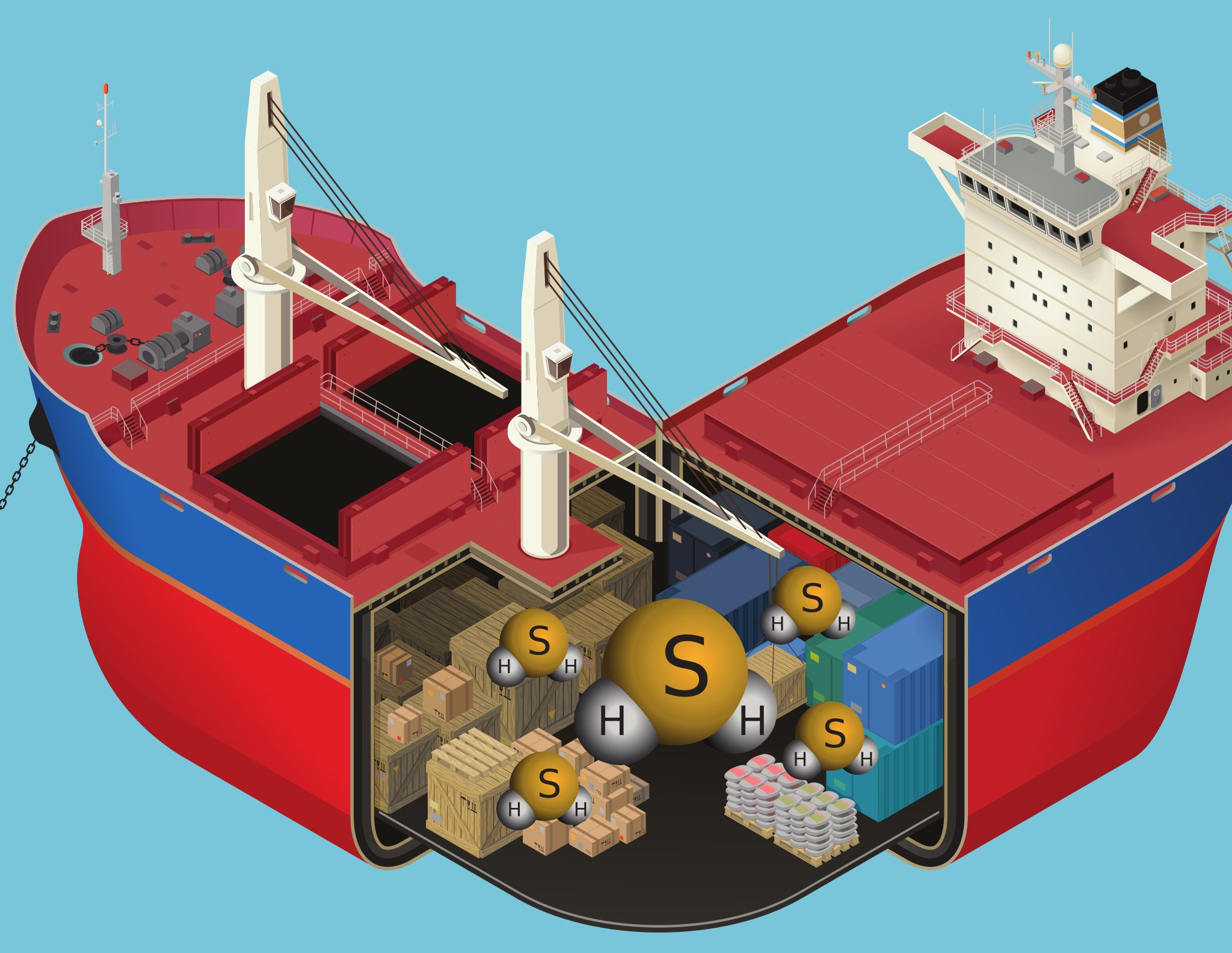 Als je de lucht van rotte eieren ruikt bij de accu's is het oppassen geblazen. Meteen ventileren en verlaat het schip of de ruimte waar de accu's staan. Illustratie Bureau OMA