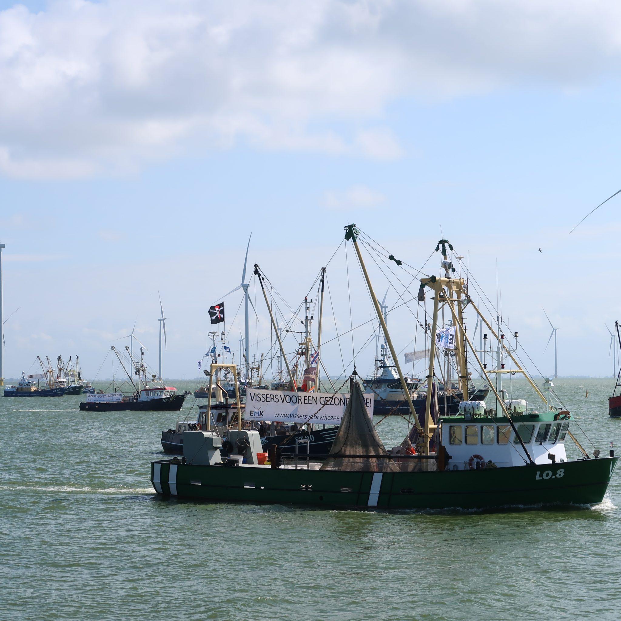 Vissers in actie bij windpark Fryslân op het IJsselmeer. (Foto W.M. den Heijer)