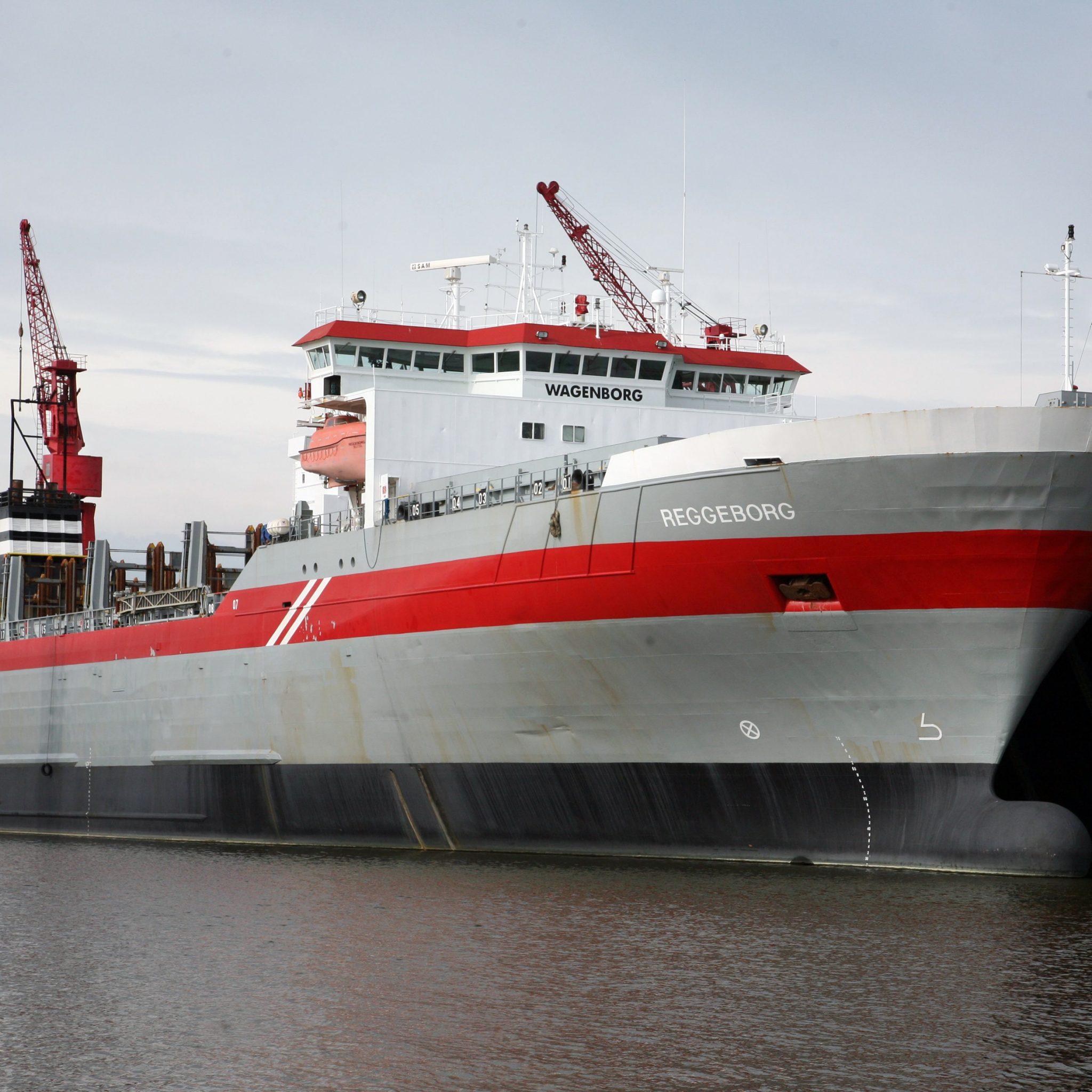 De 558 teu Reggeborg was, evenals het zusterschip Reestborg, een voor die tijd nieuw type 'open top' containerschip, waarbij het laadruim niet was voorzien van luiken maar van doorlopende containerstellingen.(Foto Henk Zuur)
