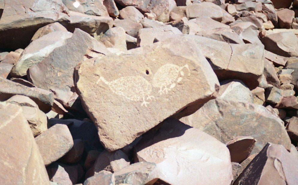 Voorbeeld van een tekening op een rots.