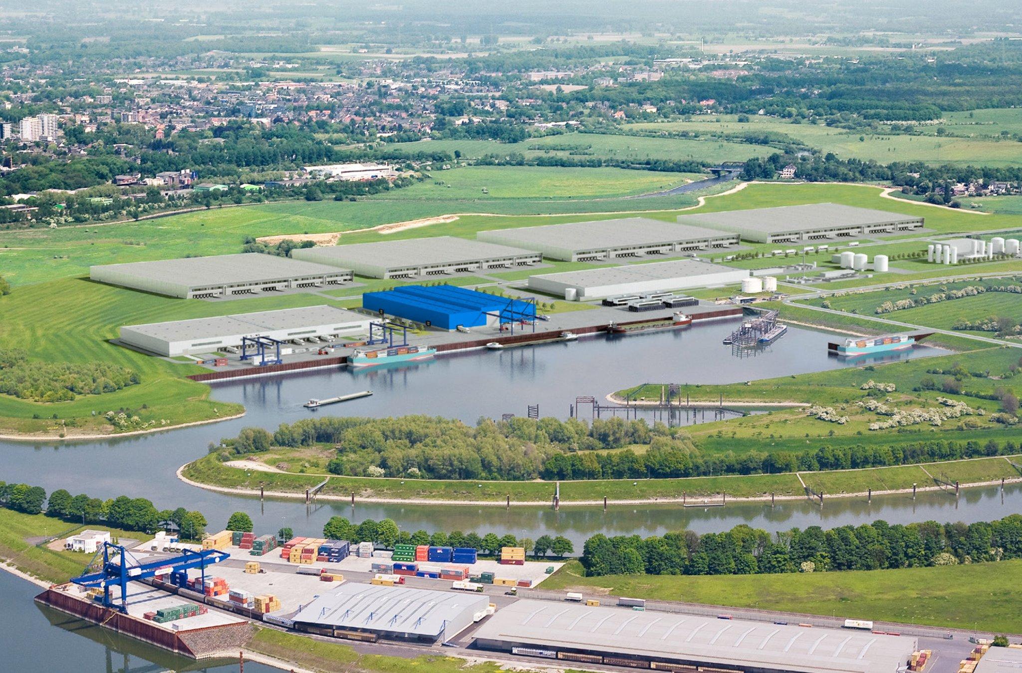 De Rhein-Lippehaven bij Wesel met rechts de steiger en verderop de opslagtanks voor de verwerking van afvalstoffen. (Impressie Deltaports)